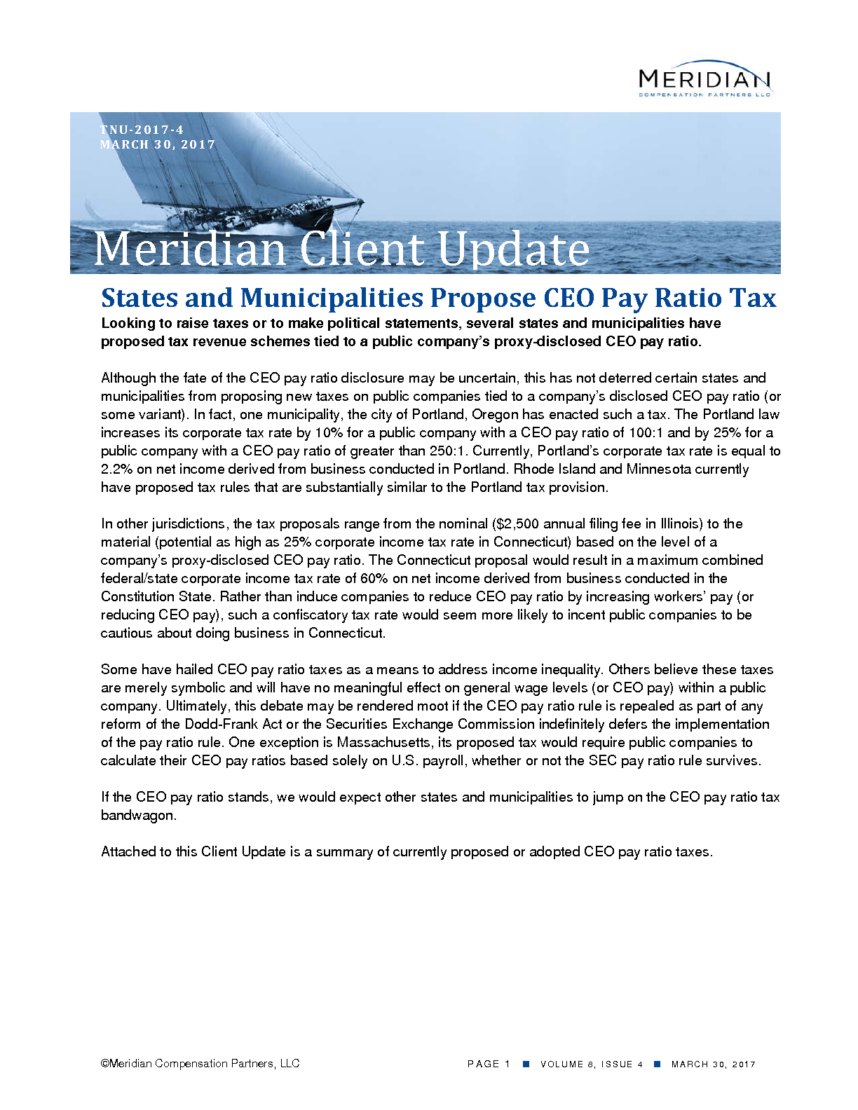 States and Municipalities Propose CEO Pay Ratio Tax (PDF)