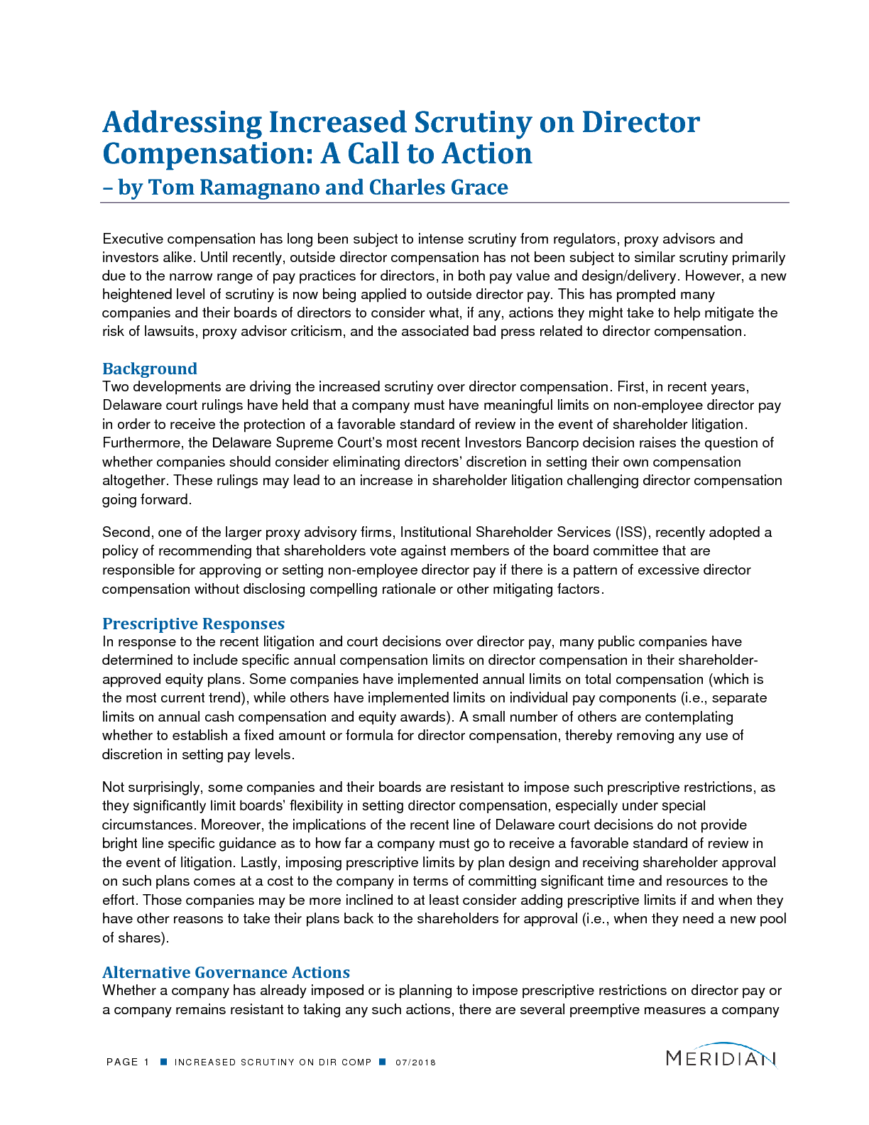 Addressing Increased Scrutiny on Director Compensation: A Call to Action (PDF)
