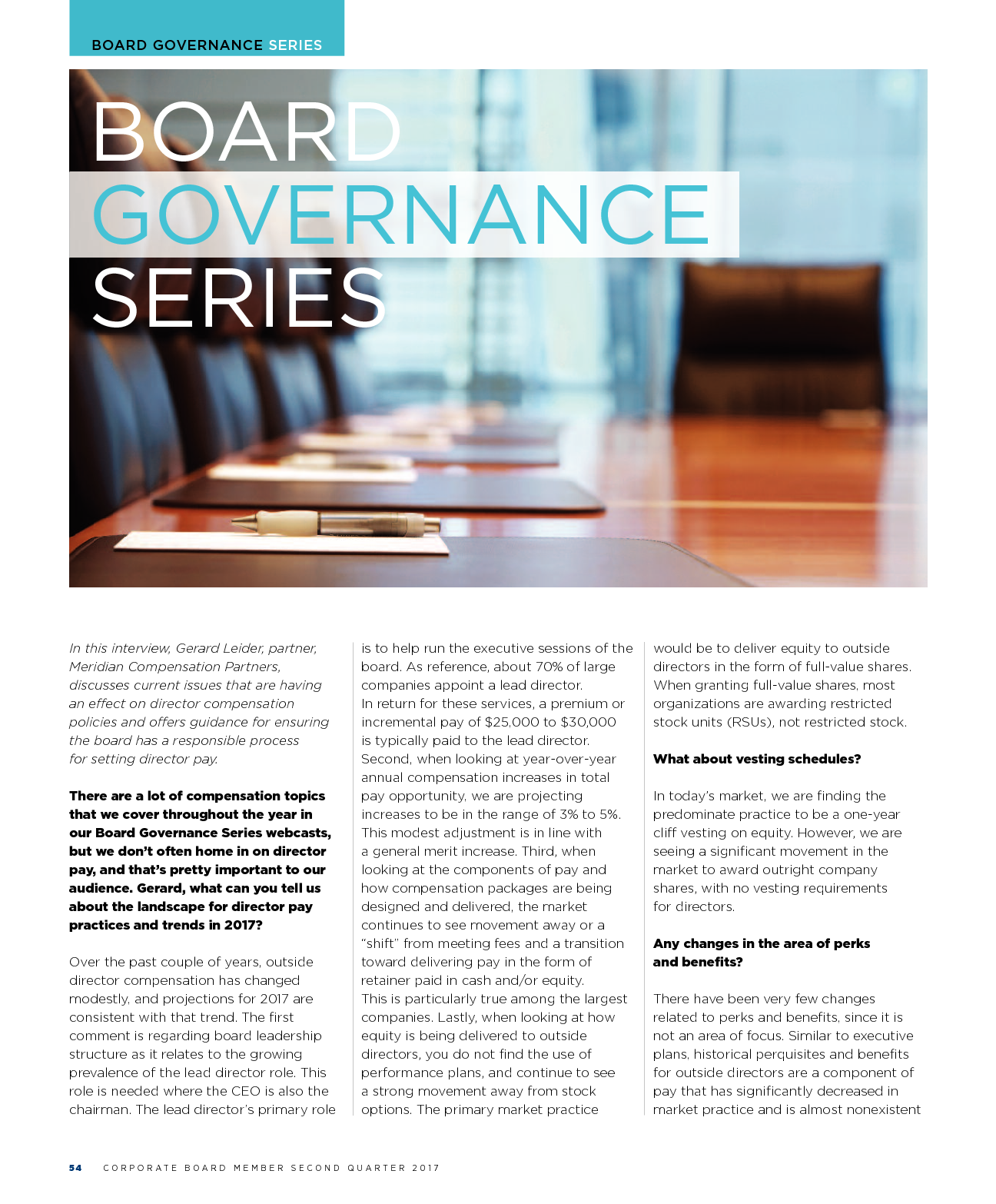 Board Governance Series - Corporate Board Member 2nd Quarter 2017 (PDF)