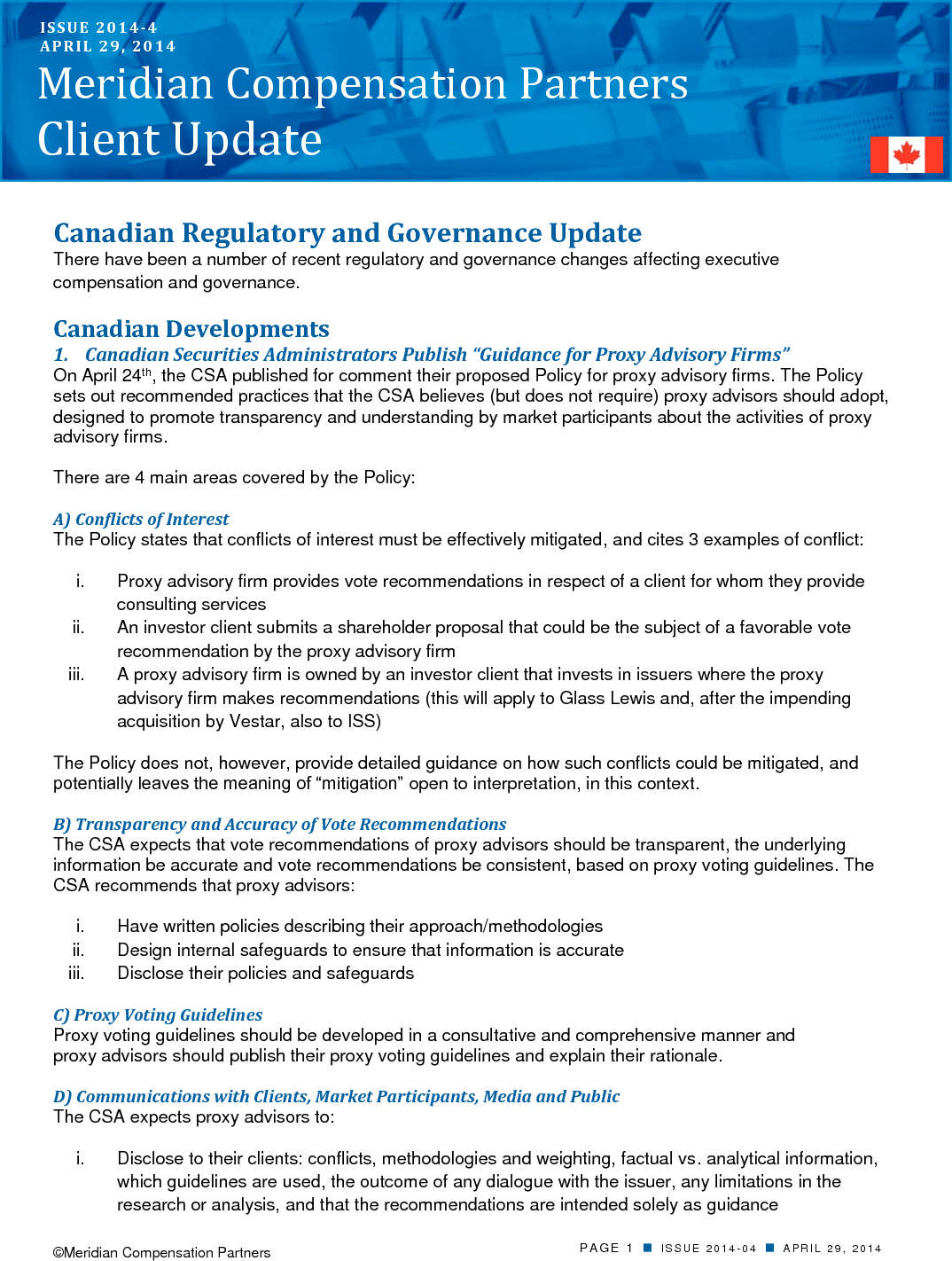 Canadian Regulatory and Governance Update (PDF)