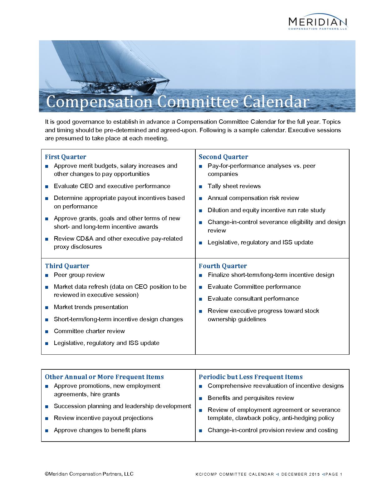 Compensation Committee Calendar (PDF)