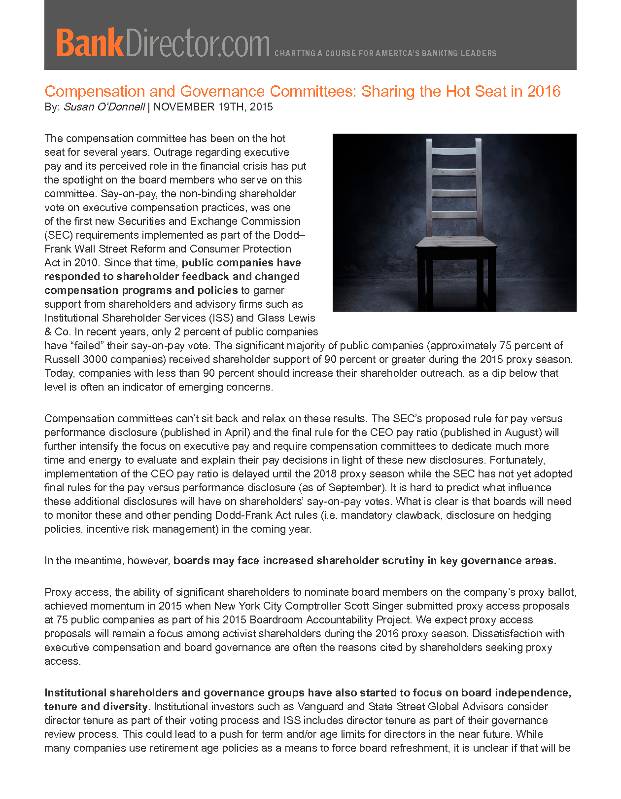 Compensation and Governance Committees: Sharing the Hot Seat in 2016 (PDF)