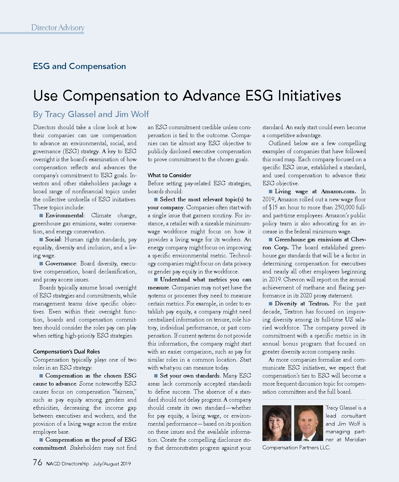 Use Compensation to Advance ESG Initiatives (PDF)