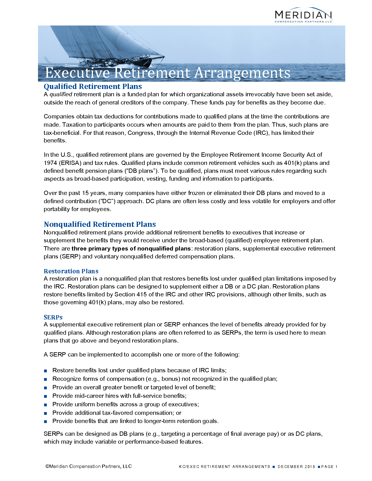 Executive Retirement Arrangements (PDF)