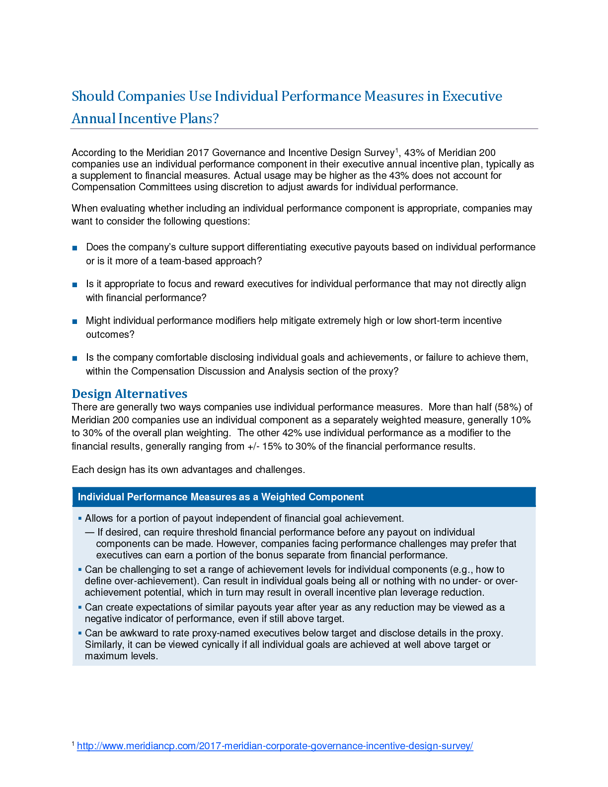 Should Companies Use Individual Performance Measures in Executive Annual Incentive Plans? (PDF)