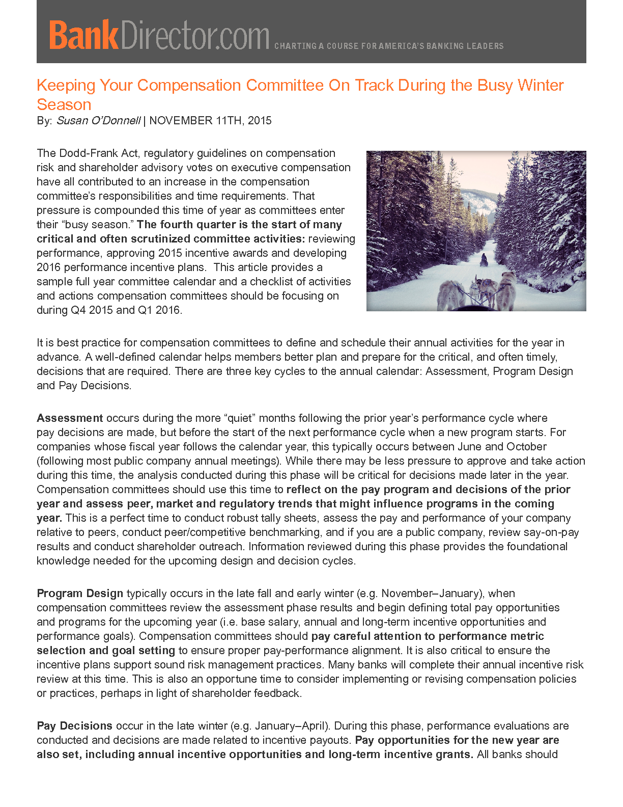 Keeping Your Compensation Committee On Track During the Busy Winter Season (PDF)