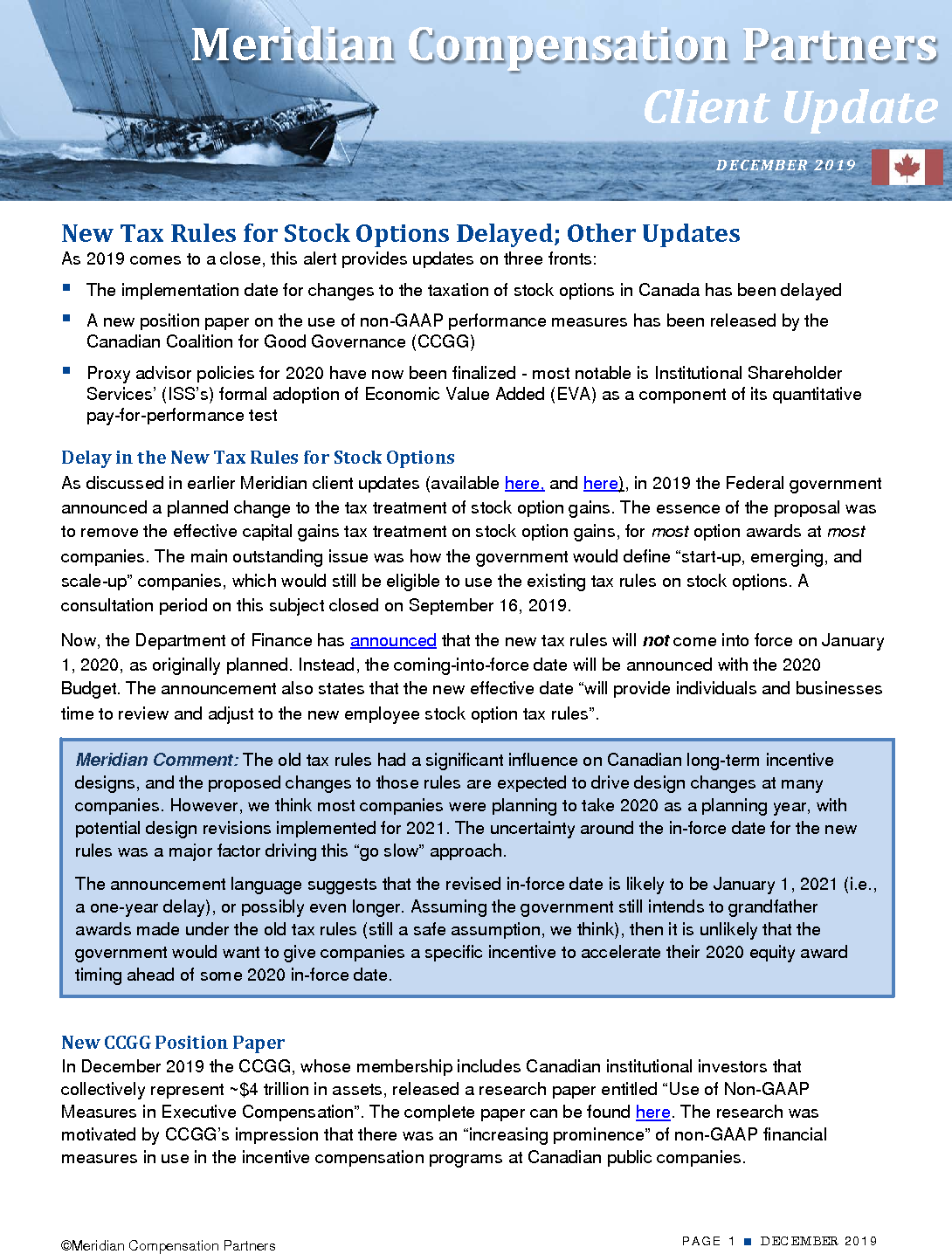 New Tax Rules for Stock Options Delayed; Other Updates (PDF)