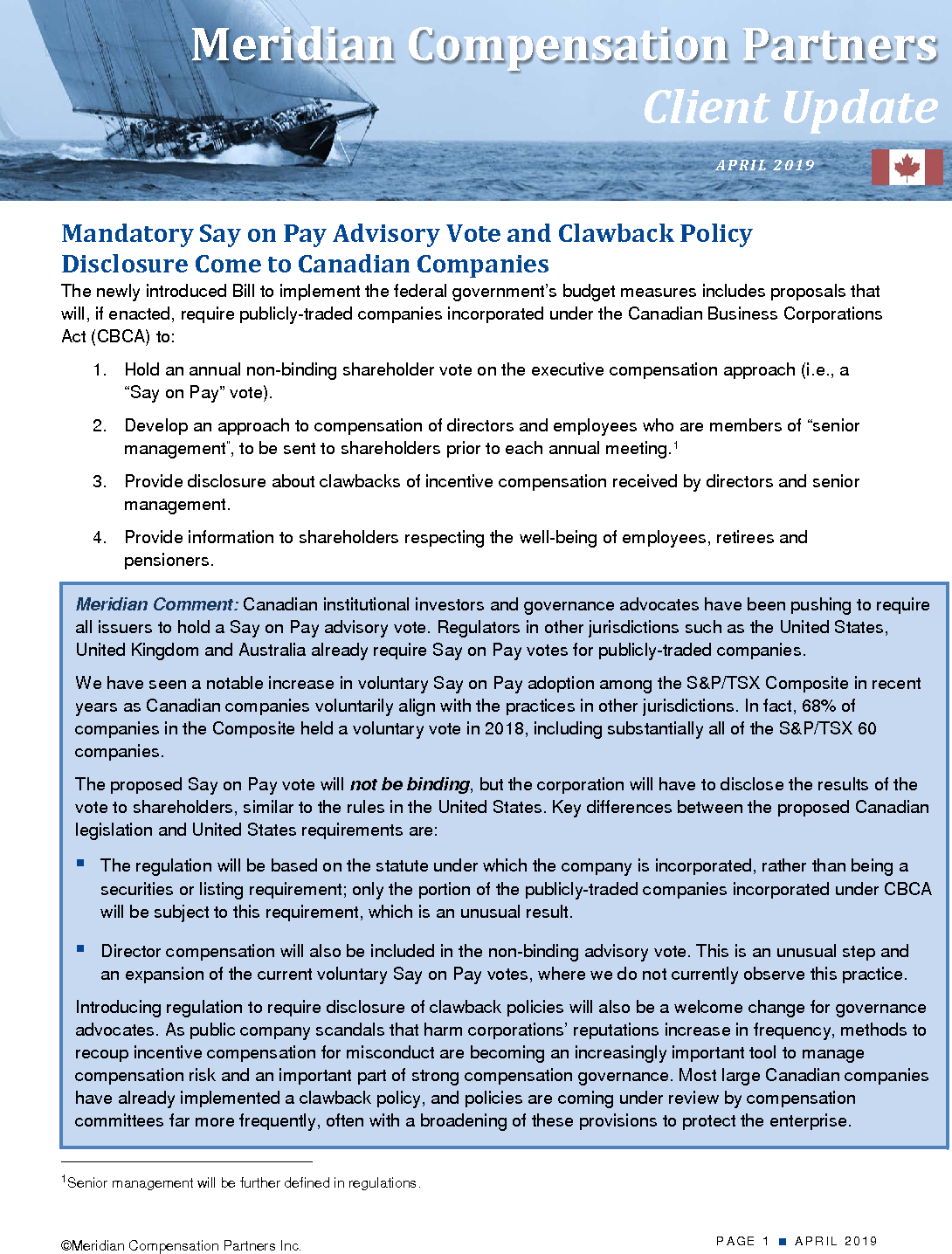 Mandatory Say on Pay Advisory Vote and Clawback Policy Disclosure Come to Canadian Companies (PDF)