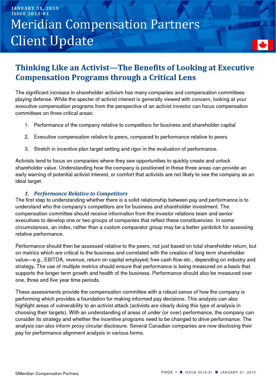 Thinking Like an Activist—The Benefits of Looking at Executive Compensation Programs through a Critical Lens (PDF)