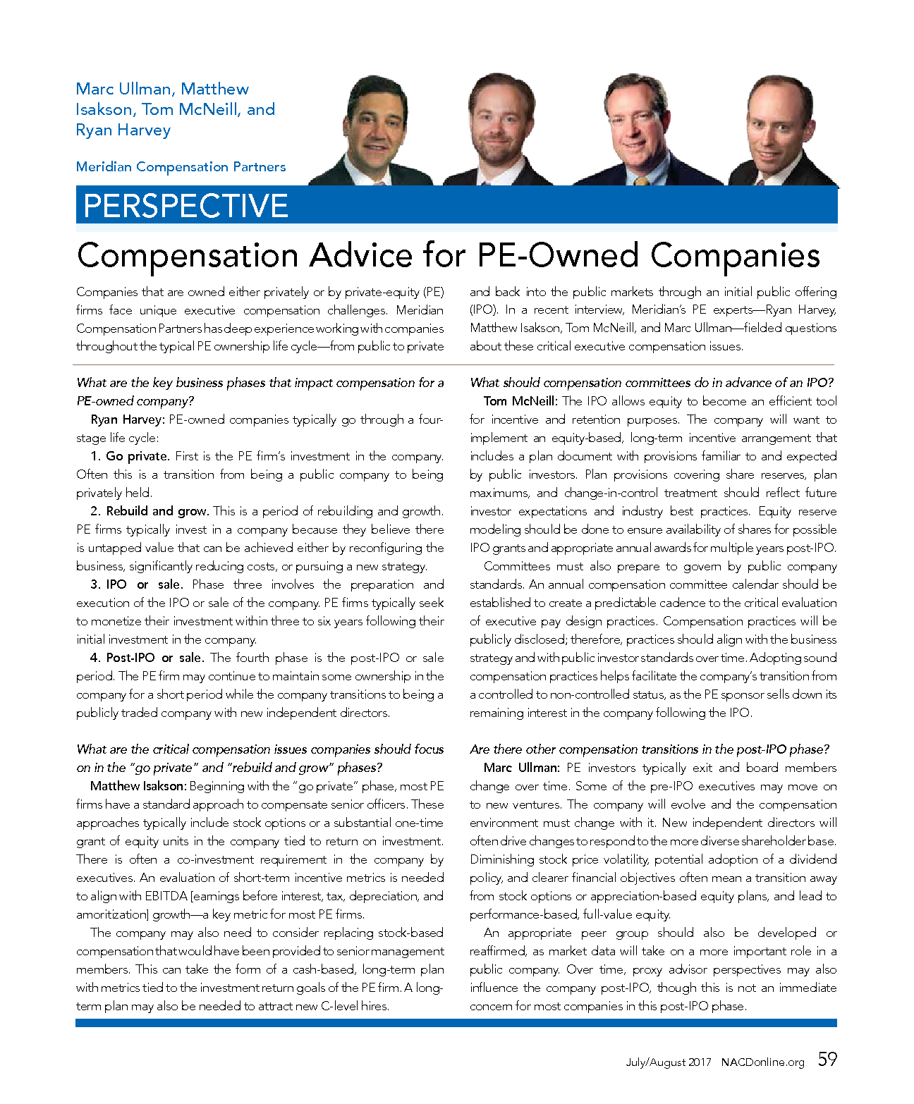 Compensation Advice for PE-Owned Companies (PDF)