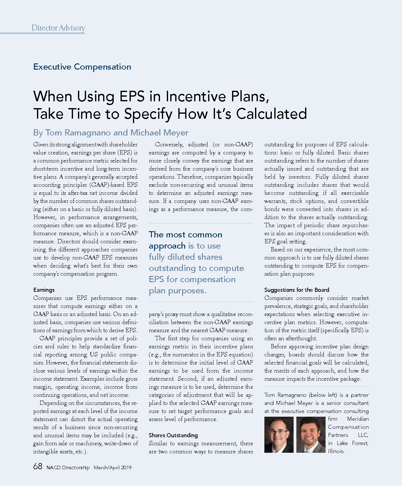 When Using EPS in Incentive Plans, Take Time to Specify How It's Calculated (PDF)
