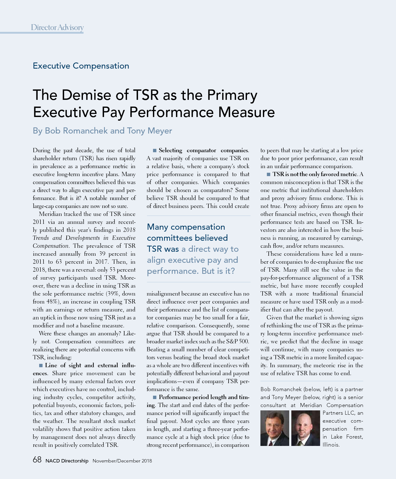 The Demise of TSR as the Primary Executive Pay Performance Measure (PDF)