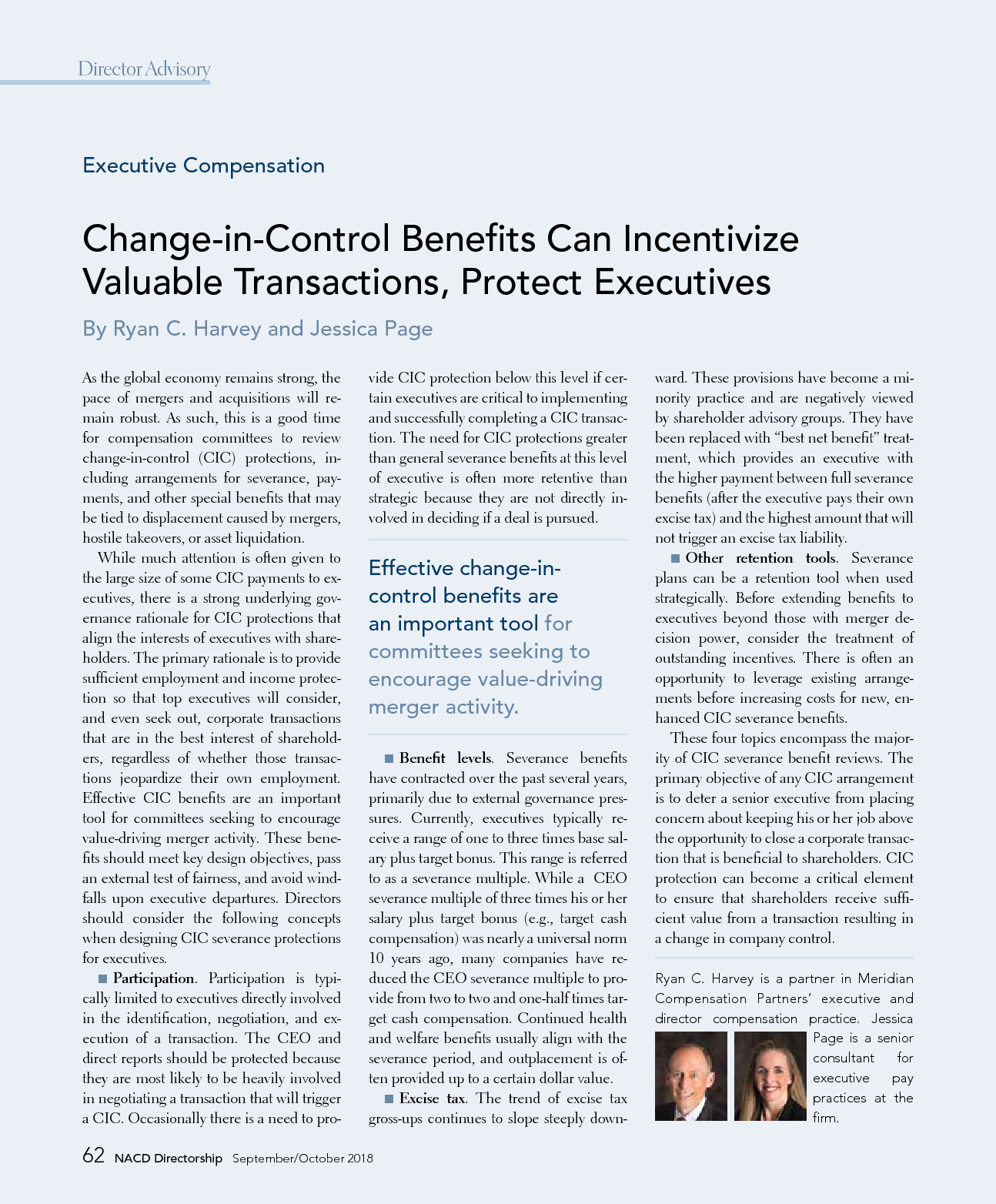 Change-in-Control Benefits Can Incentivize Valuable Transactions, Protect Executives (PDF)