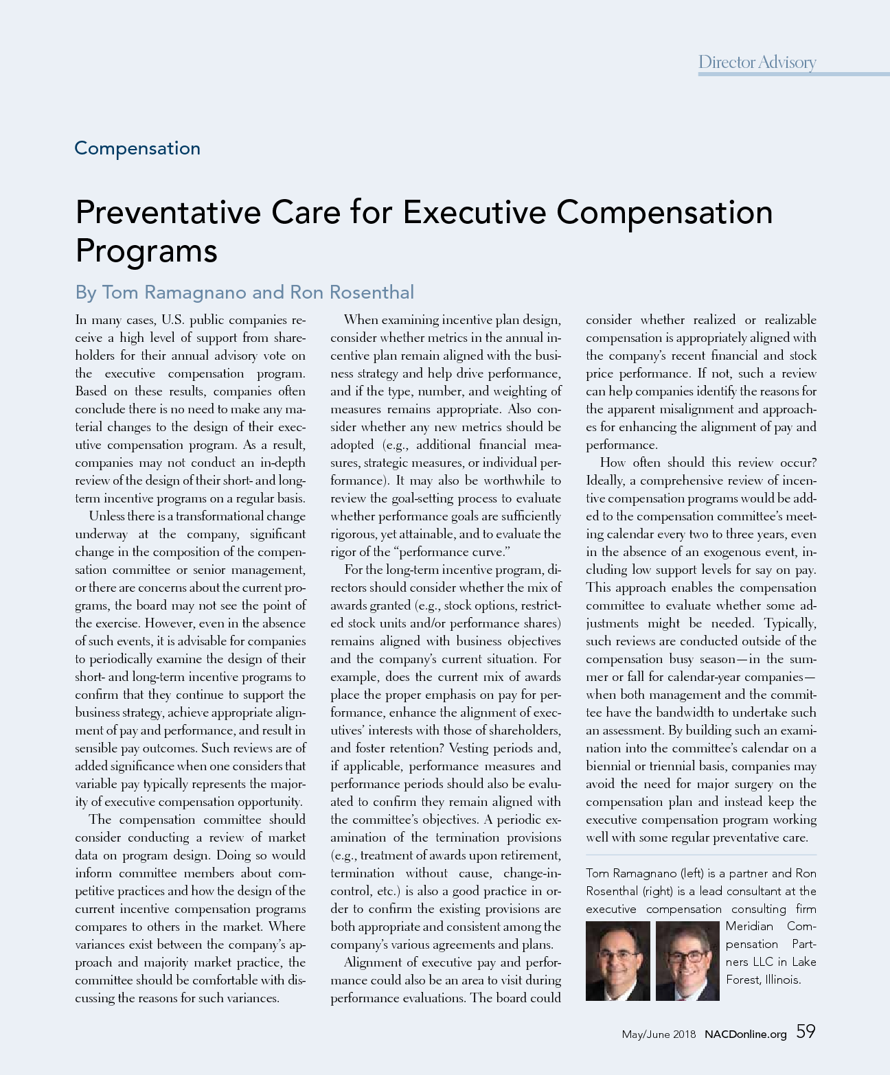 Preventative Care for Executive Compensation Programs (PDF)