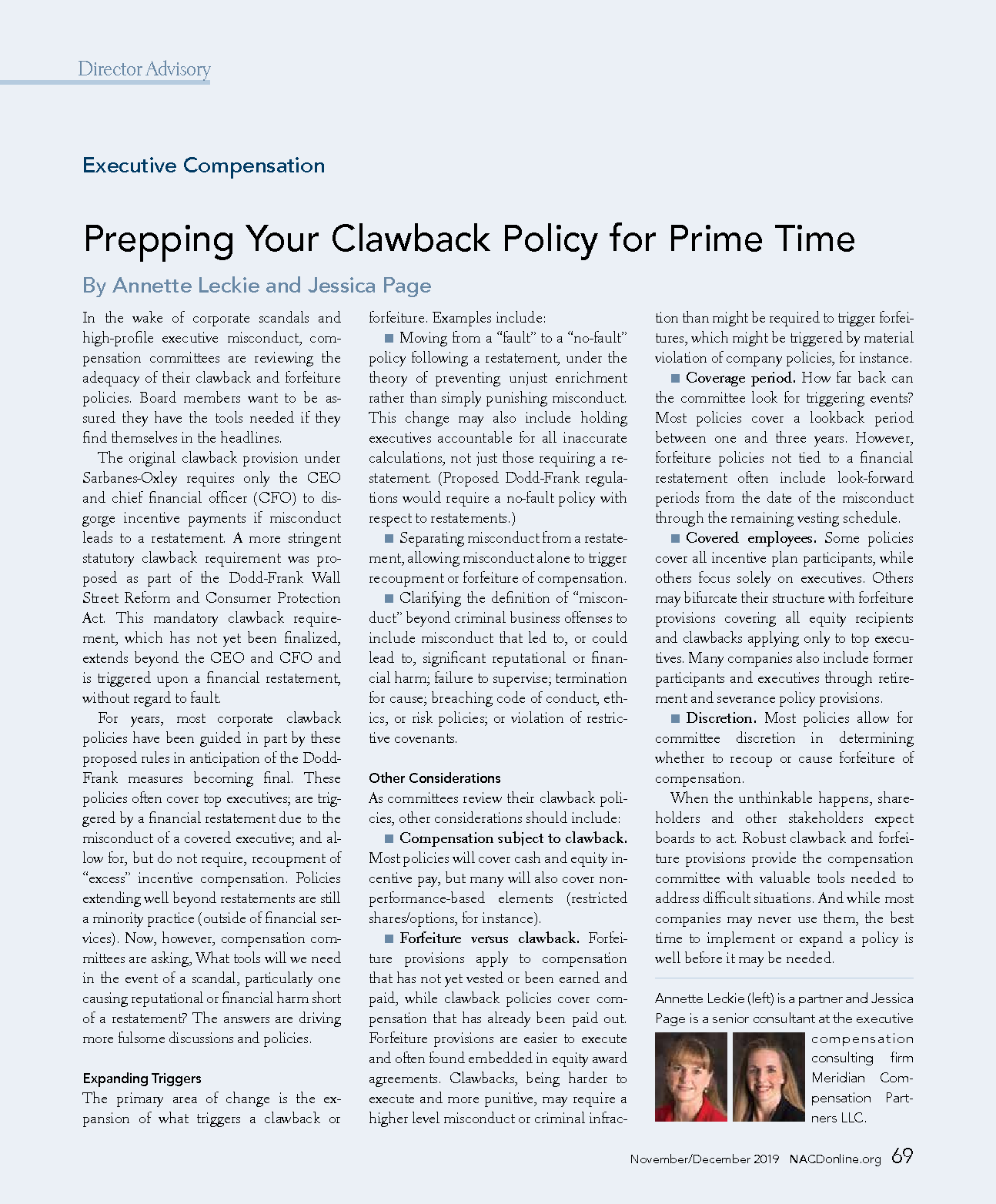 Prepping Your Clawback Policy for Prime Time (PDF)
