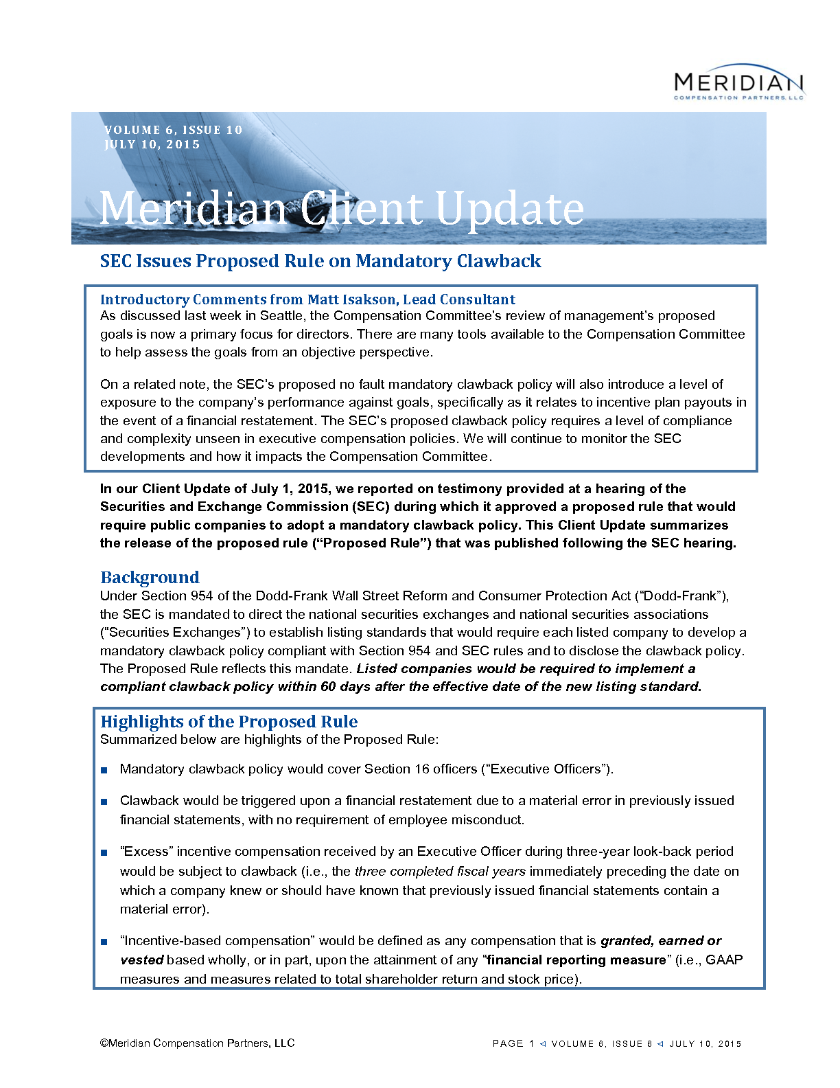 Sec releases proposed rule on mandatory clawback meridian matthew isakson sec releases proposed rule on mandatory clawback pdf platinumwayz