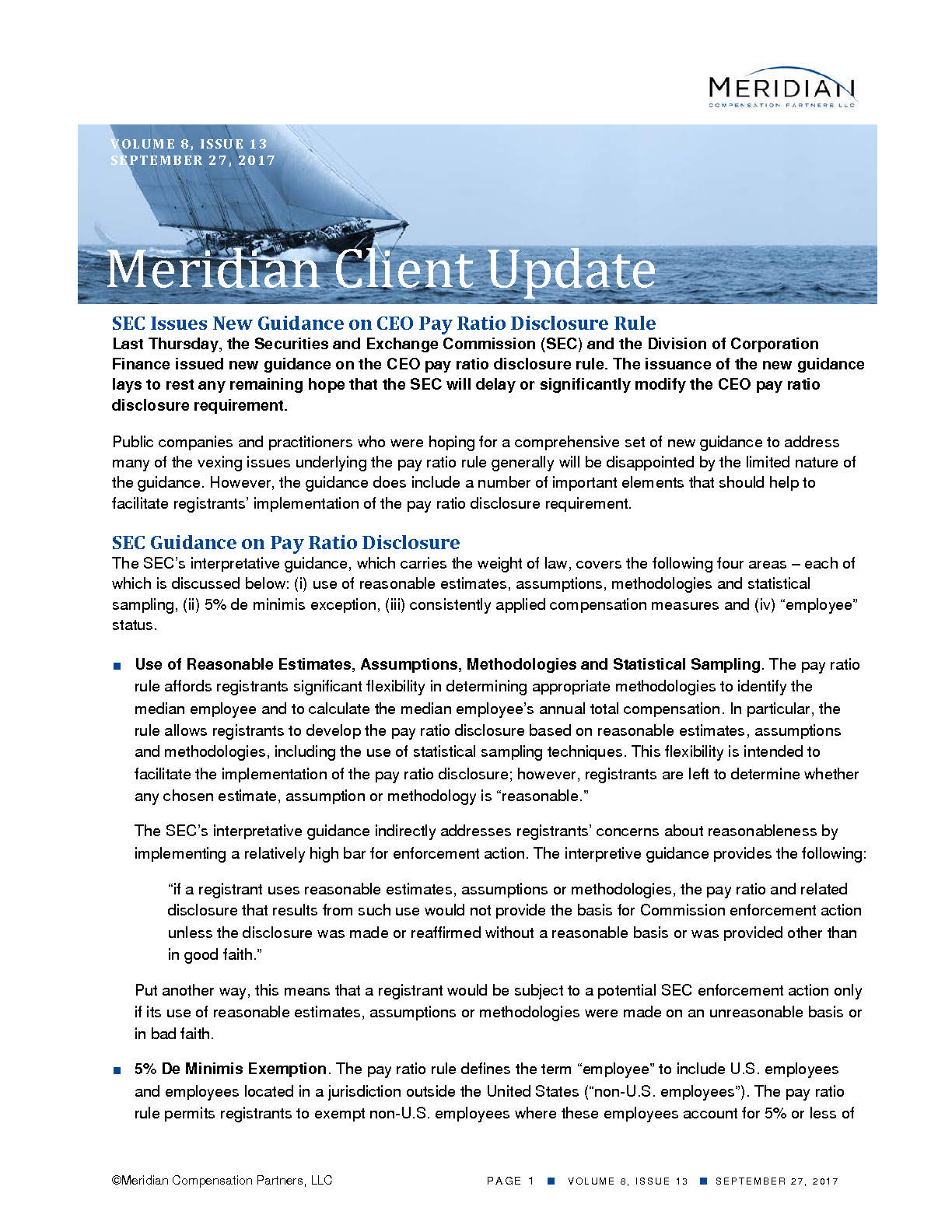 SEC Issues New Guidance on CEO Pay Ratio Disclosure Rule (PDF)