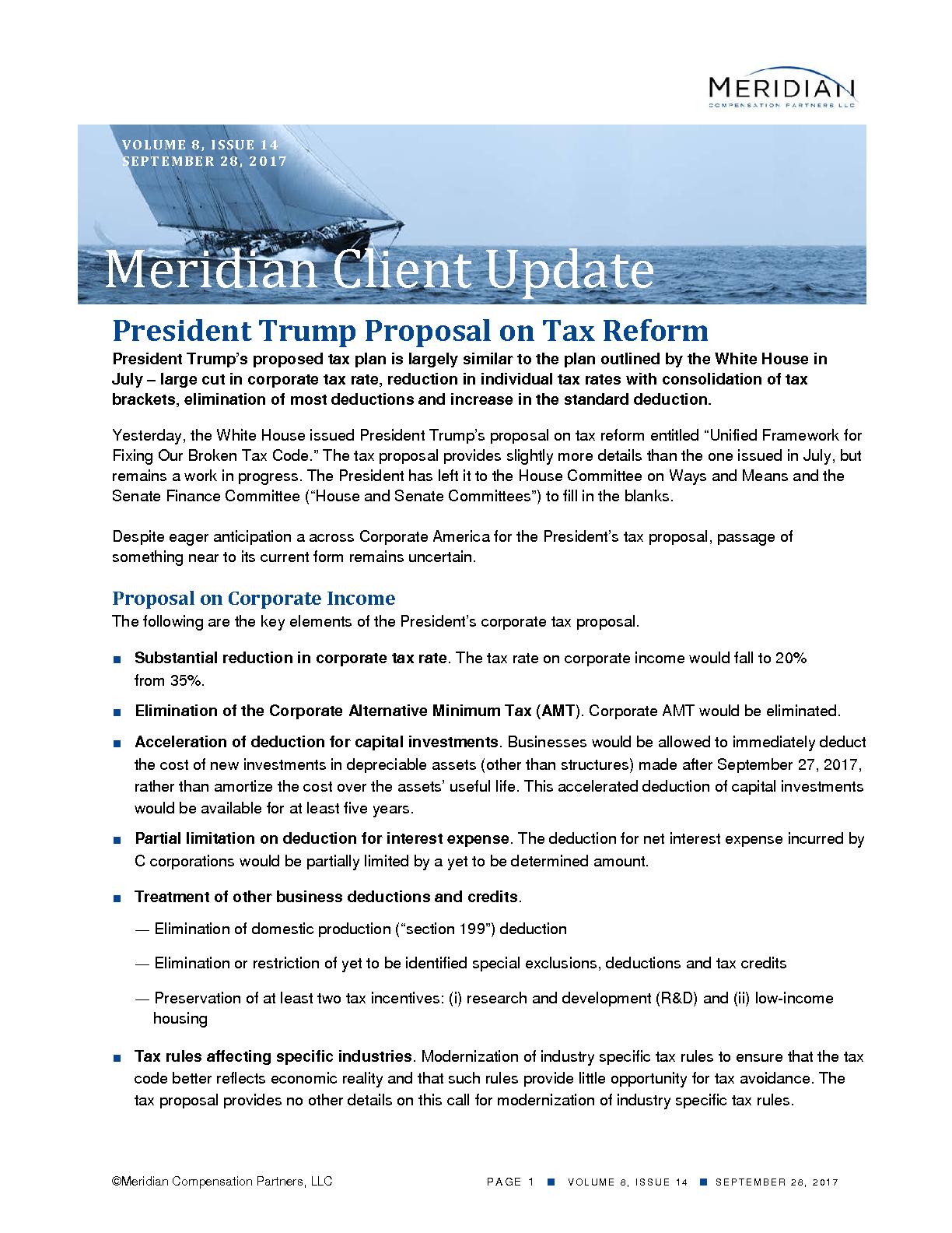 President Trump Proposal on Tax Reform (PDF)