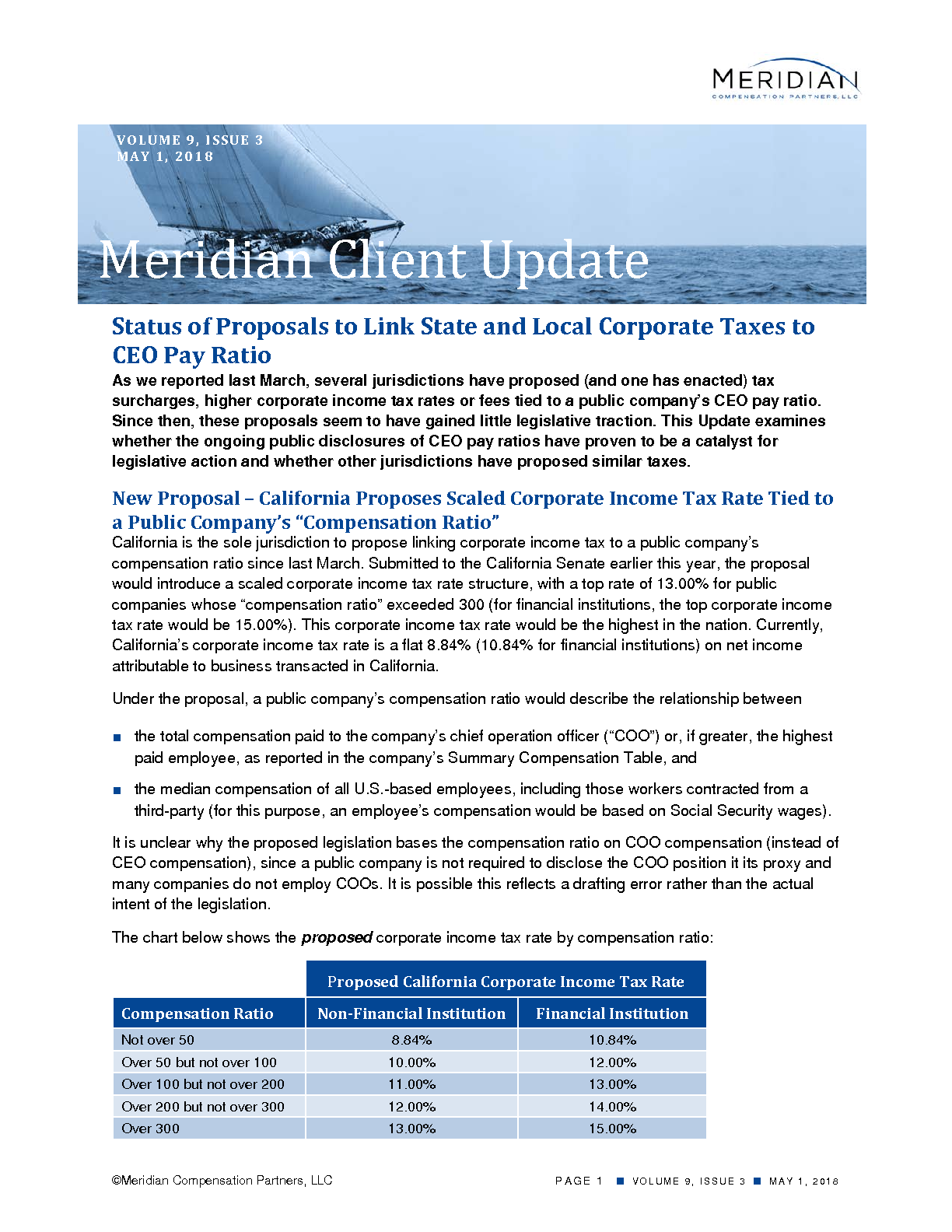 Status of Proposals to Link State and Local Corporate Taxes to CEO Pay Ratio (PDF)