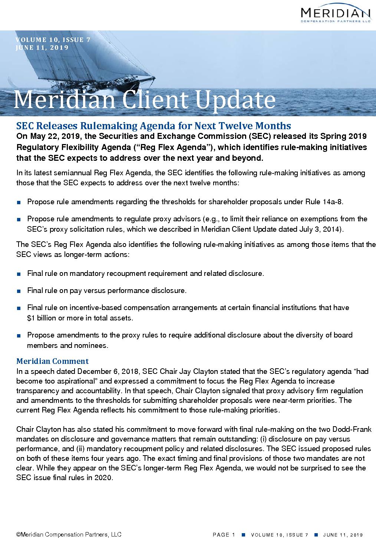SEC Releases Rulemaking Agenda for Next Twelve Months (PDF)
