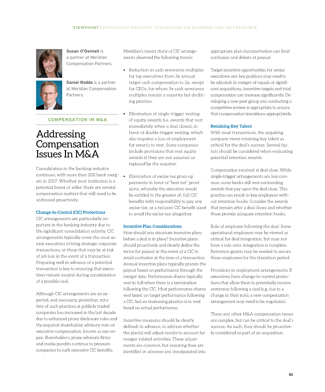 Addressing Compensation Issues In M&A (PDF)