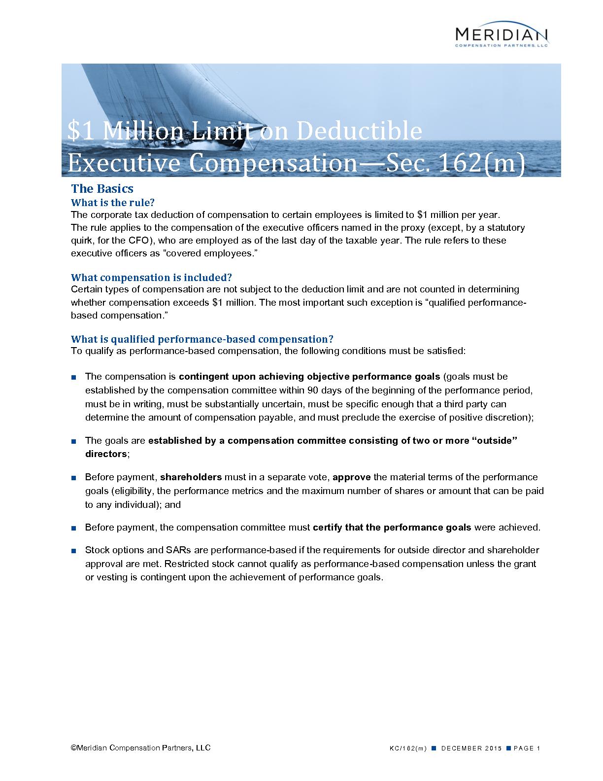 $1 Million Limit on Deductible  Executive Compensation—Sec. 162(m) (PDF)