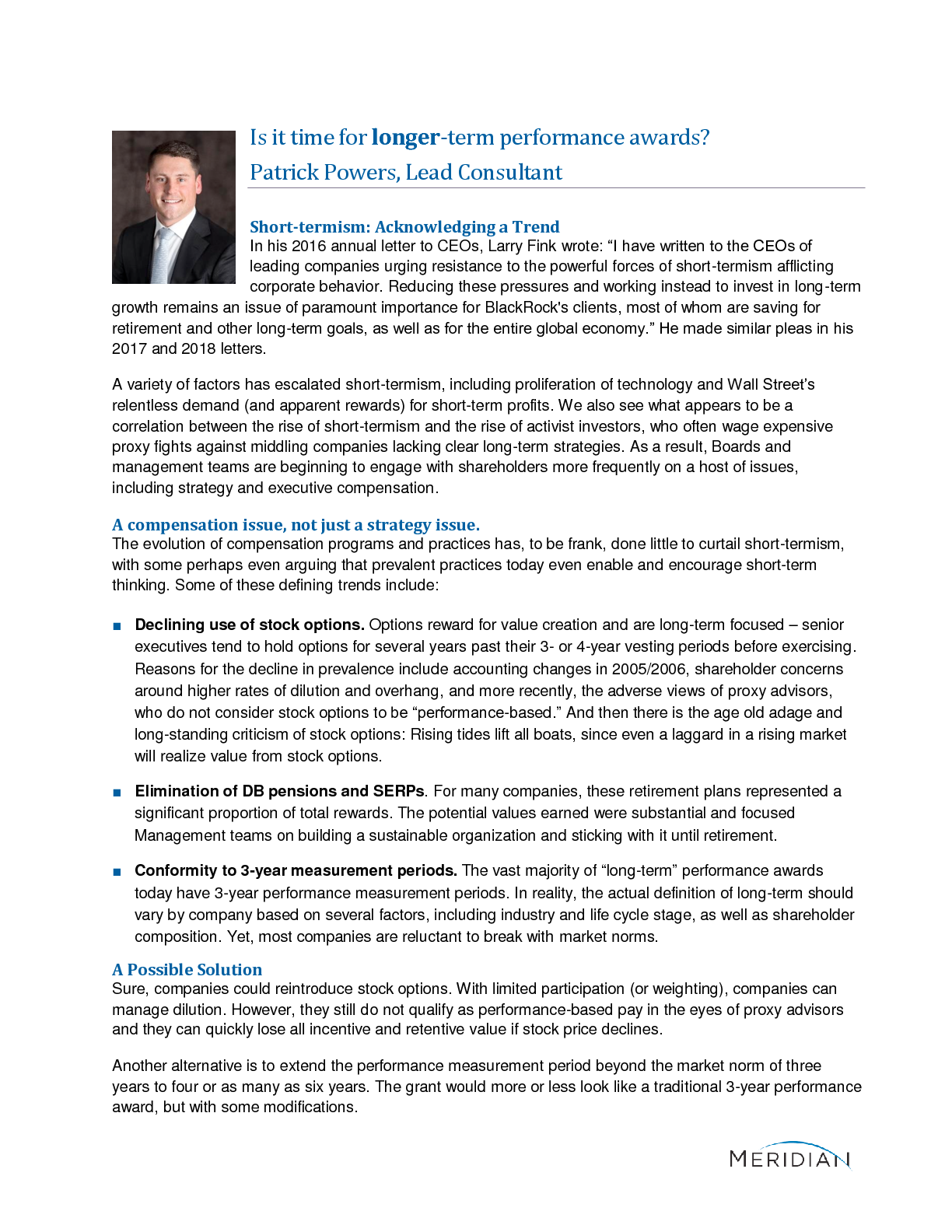 Is it time for longer-term performance awards? (PDF)