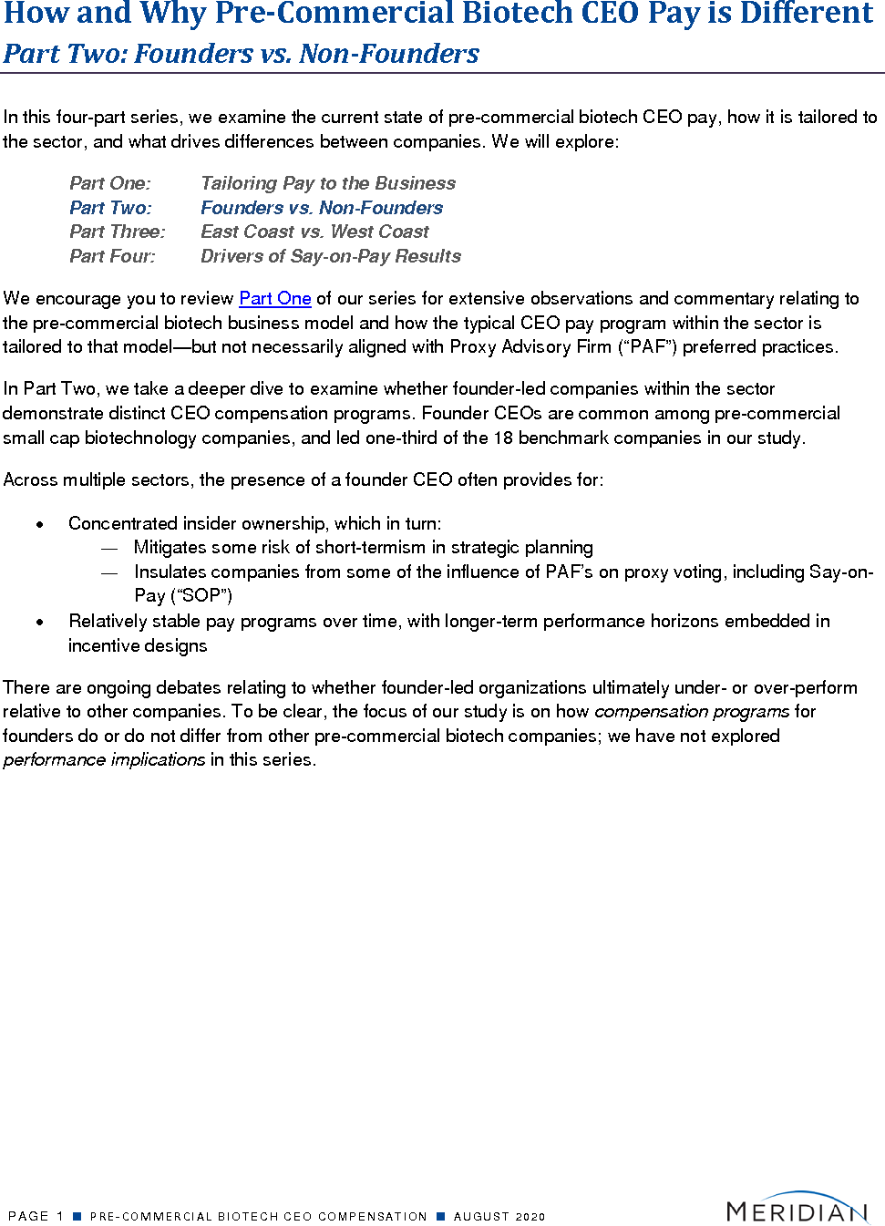 How and Why Pre-Commercial Biotech CEO Pay is Different (PDF)