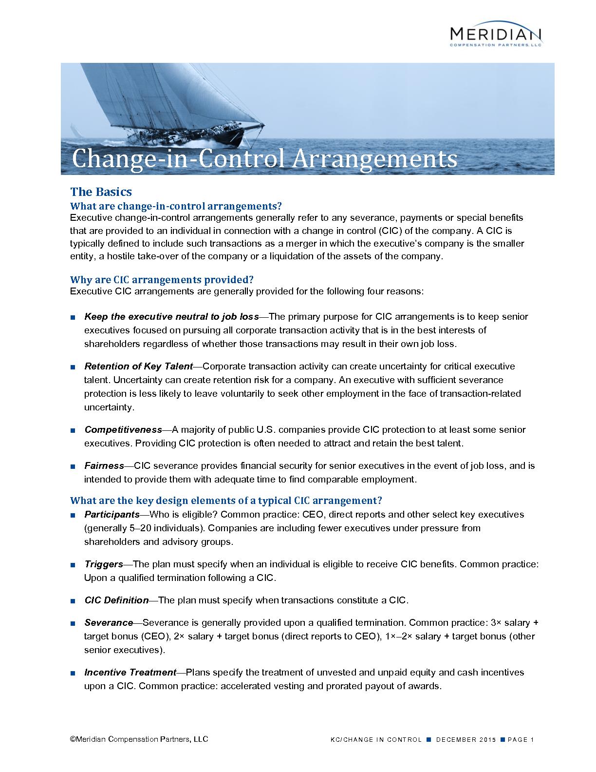 Change-‐in-‐Control Arrangements
