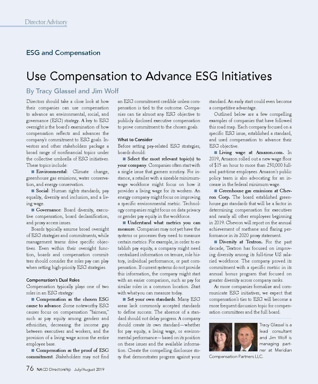 Use Compensation to Advance ESG Initiatives (PDF)