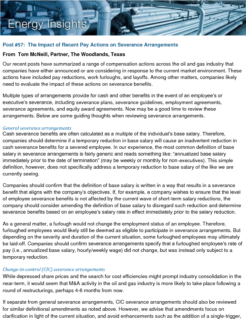 The Impact of Recent Pay Actions on Severance Arrangements (PDF)