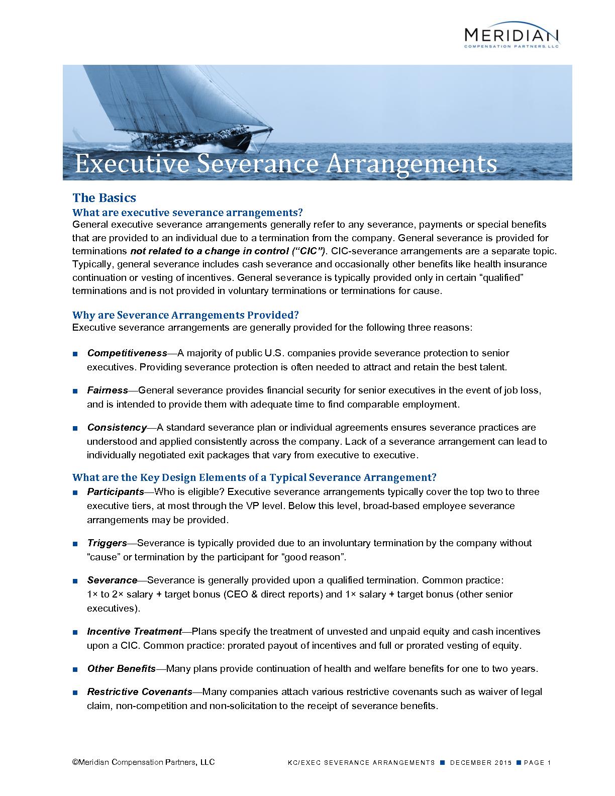 Executive Severance Arrangements (PDF)