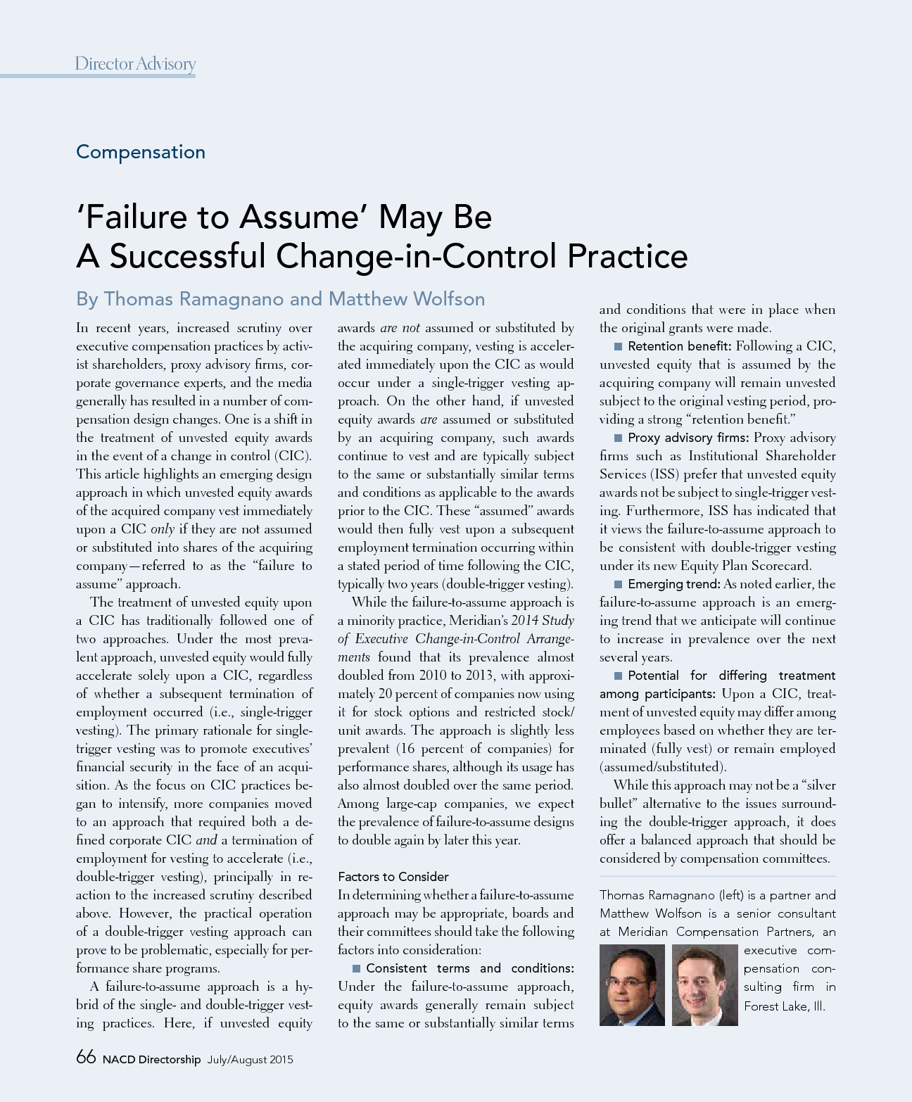 'Failure to Assume' May Be a Successful Change-in-Control Practice (PDF)