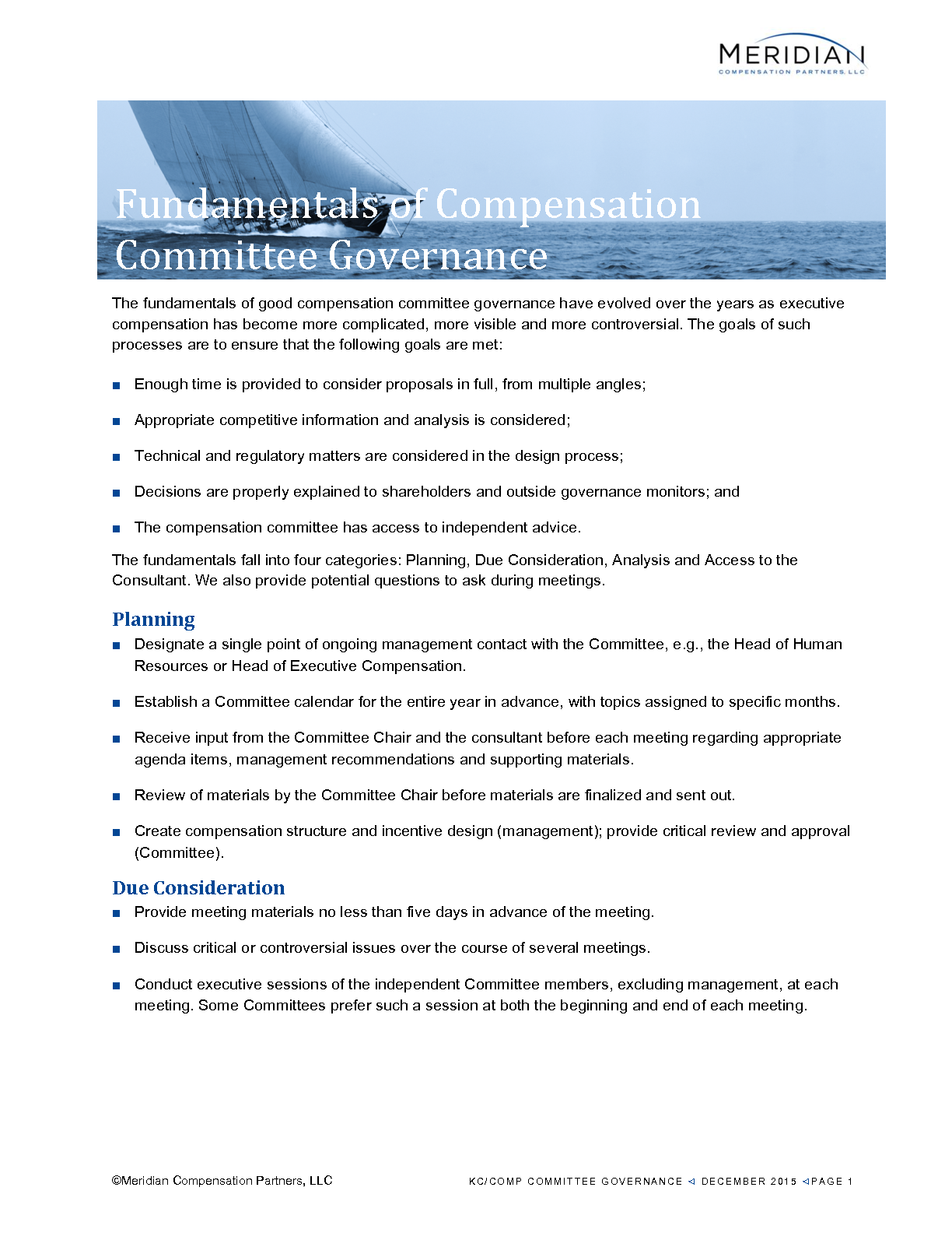 Fundamentals of Compensation Committee Governance (PDF)