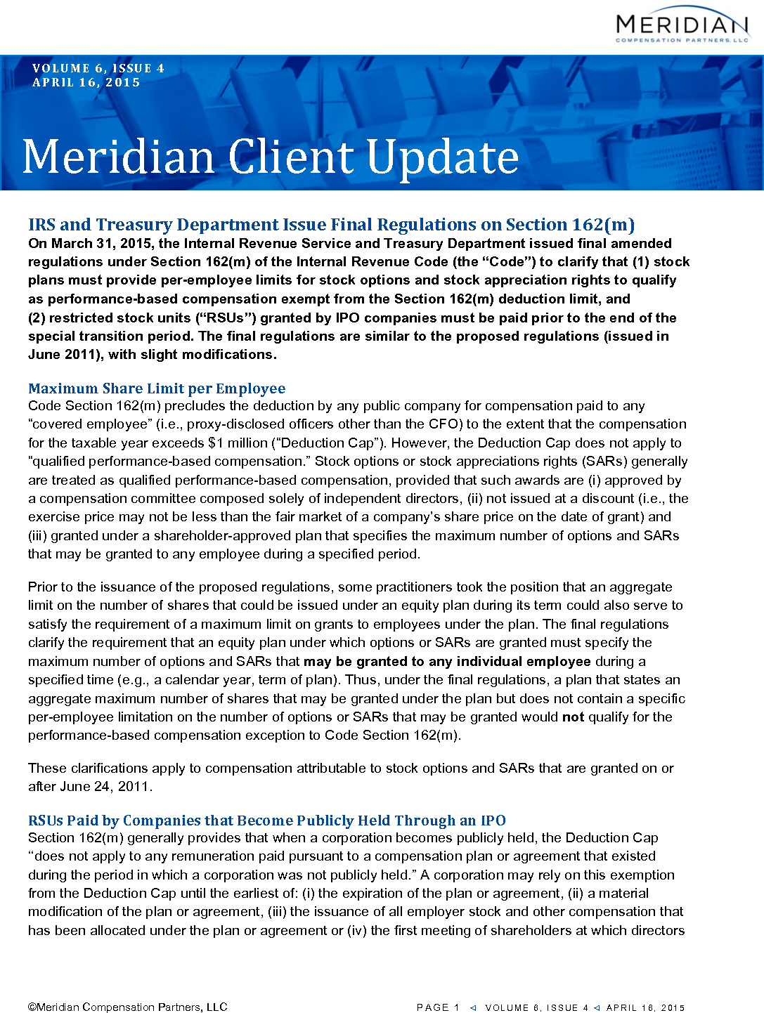 IRS and Treasury Department Issue Final Regulations on Section 162(m) (PDF)