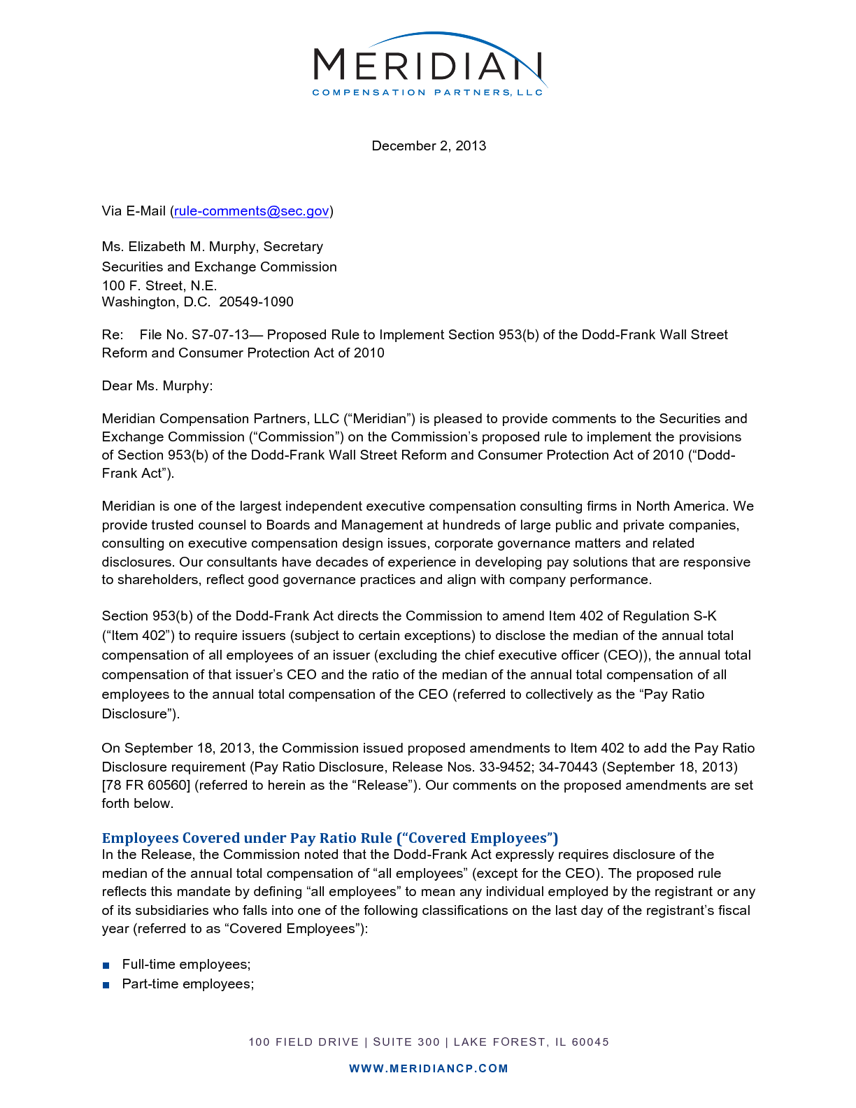 SEC Comment Letter on Proposed CEO Pay Ratio Disclosure Rule