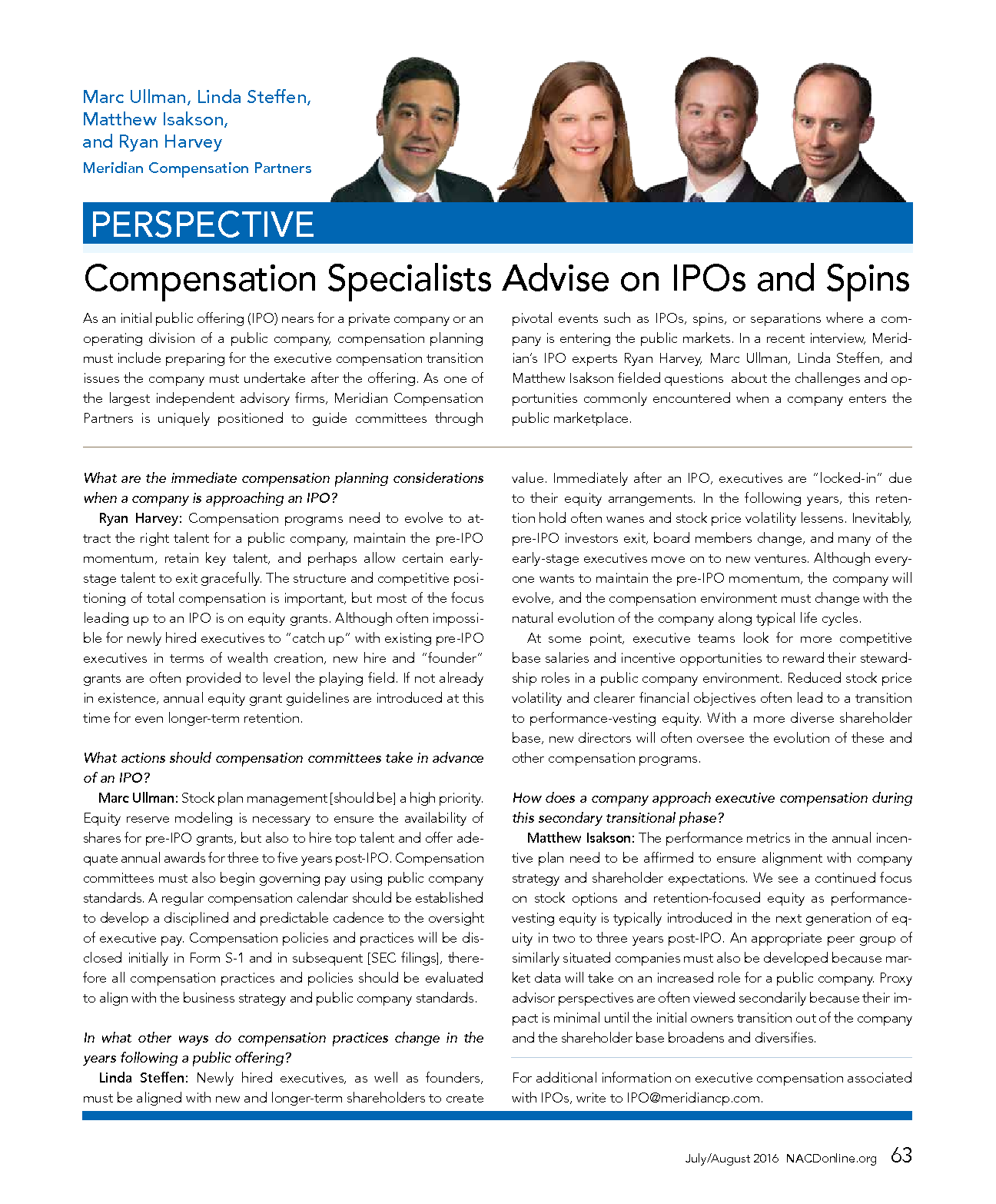 Compensation Specialists Advise on IPOs and Spins (PDF)