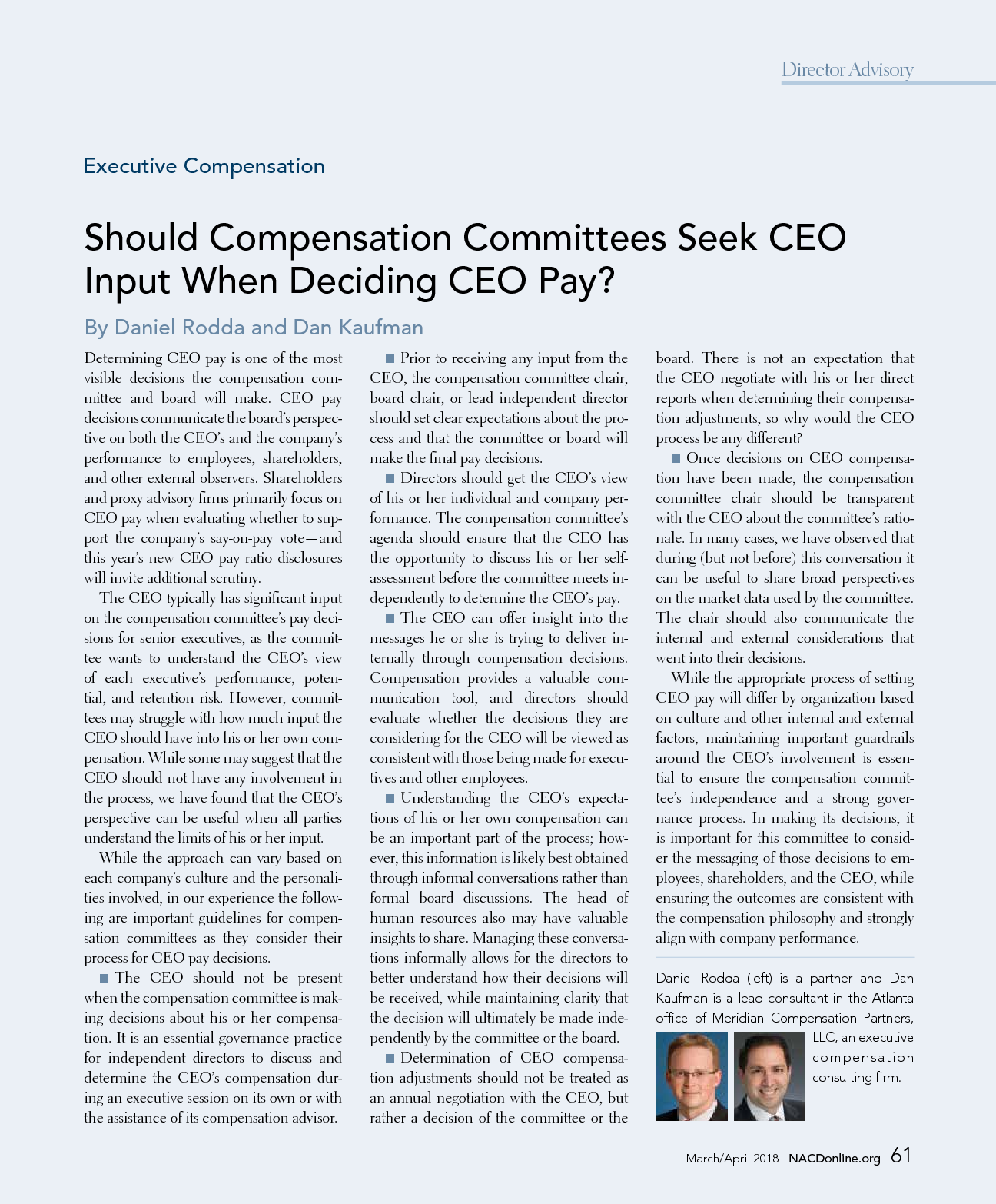 Should Compensation Committees Seek CEO Input When Deciding CEO Pay? (PDF)