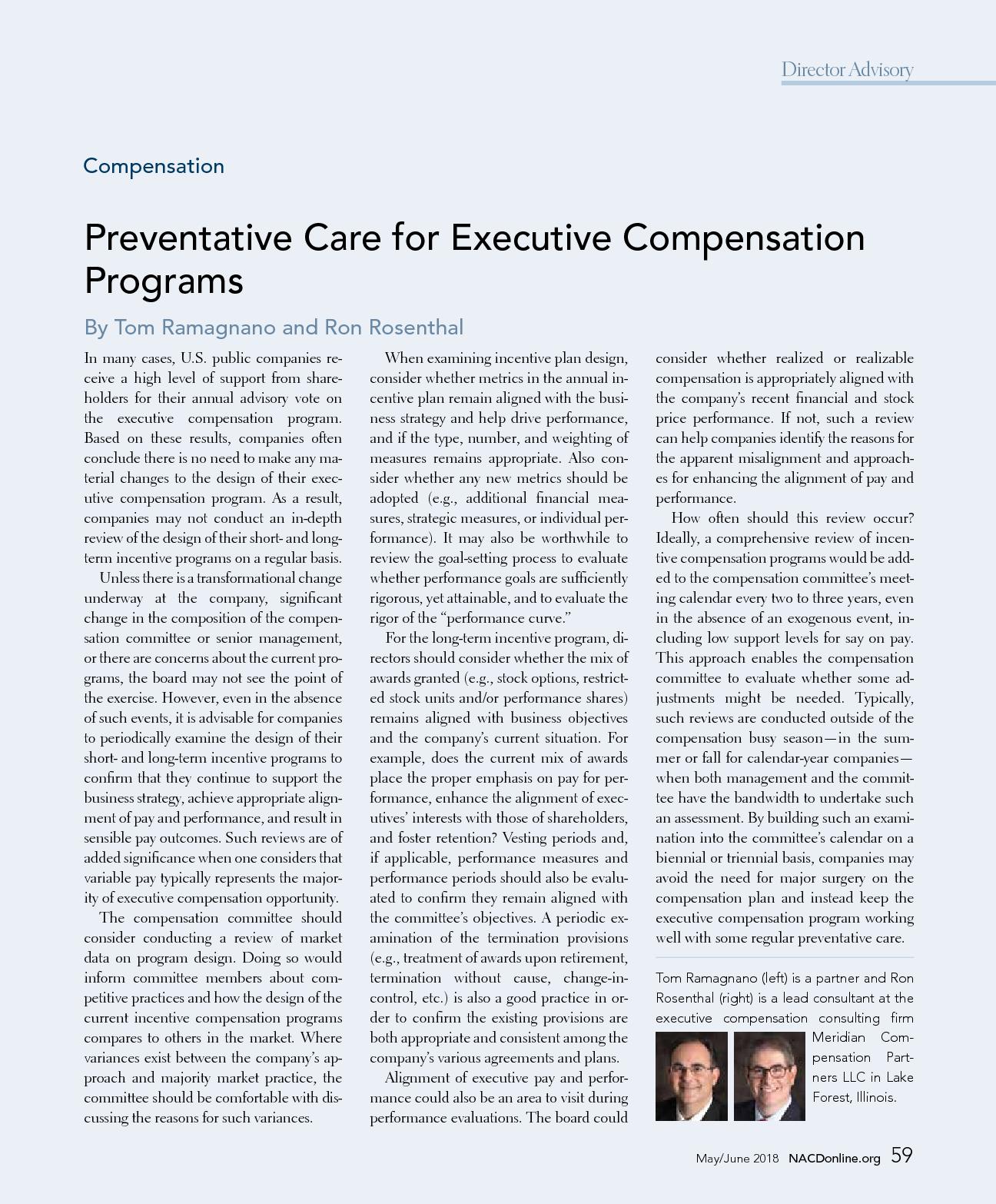 Preventative Care for Executive Compensation Programs (PDF)