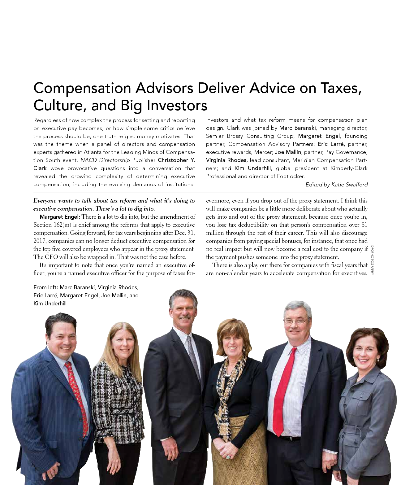 Compensation Advisors Deliver Advice on Taxes, Culture, and Big Investors (PDF)