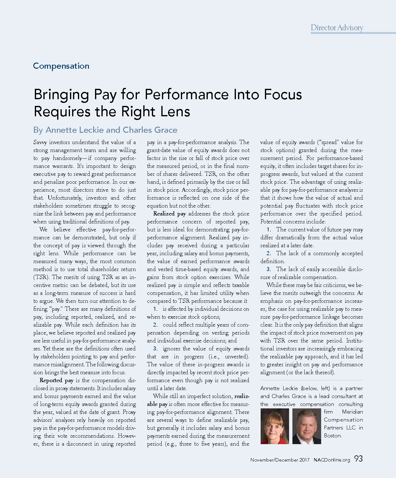 Bringing Pay for Performance Into Focus Requires the Right Lens (PDF)