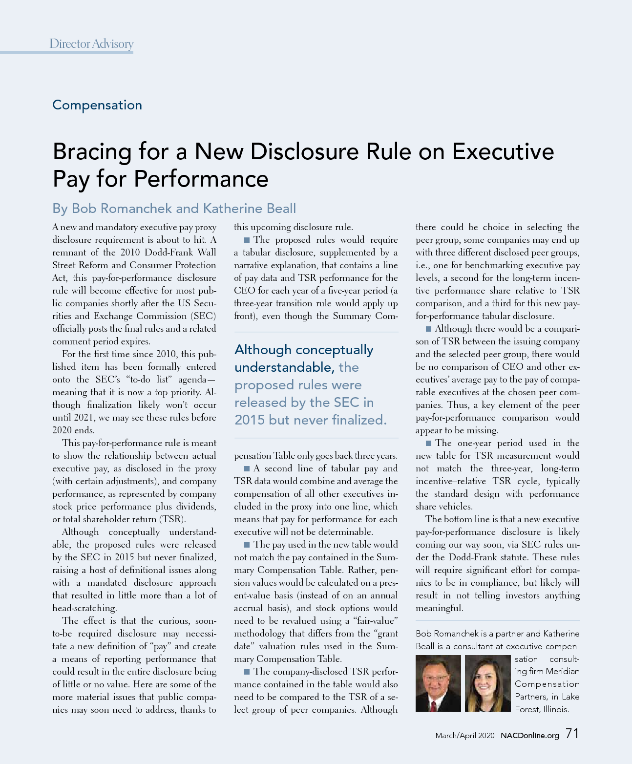 Bracing for a New Disclosure Rule on Executive Pay for Performance (PDF)