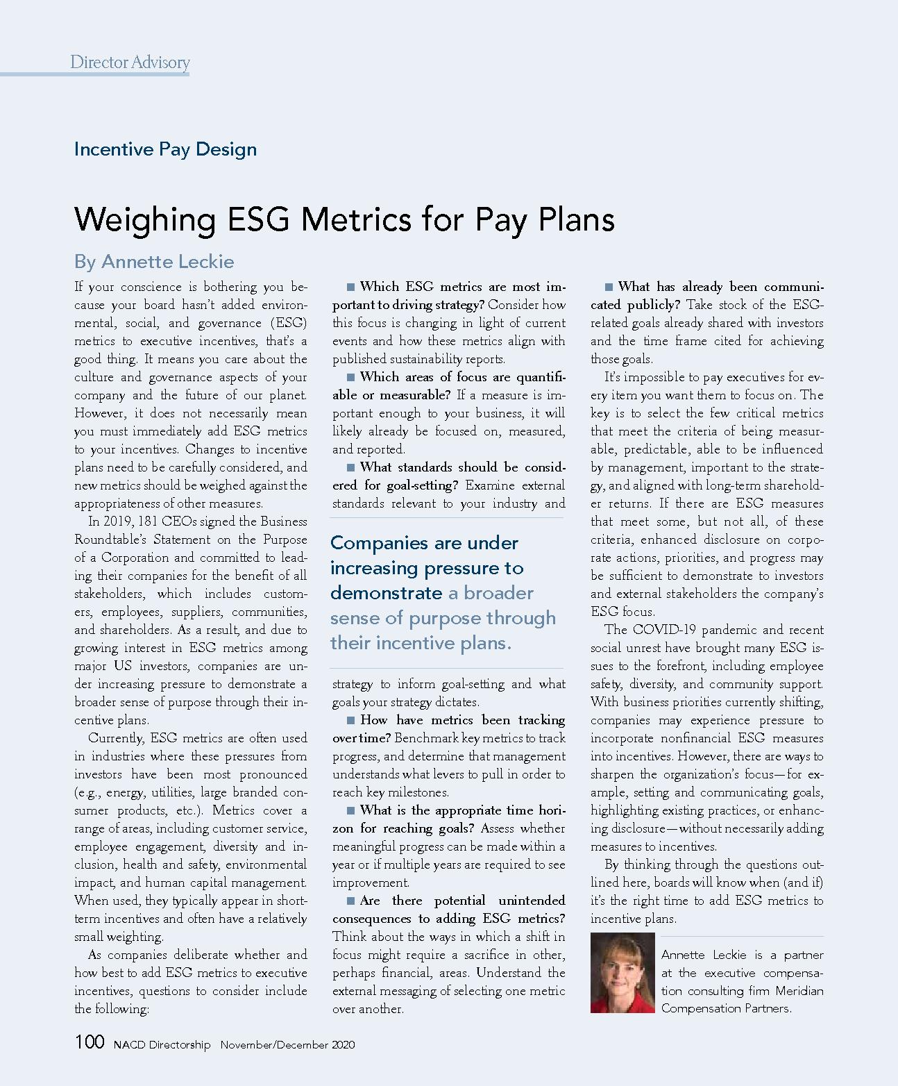 Weighing ESG Metrics for Pay Plans (PDF)