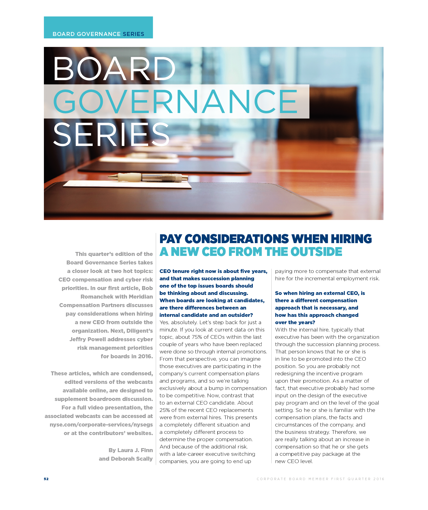 Pay Considerations When Hiring a New CEO From the Outside (PDF)