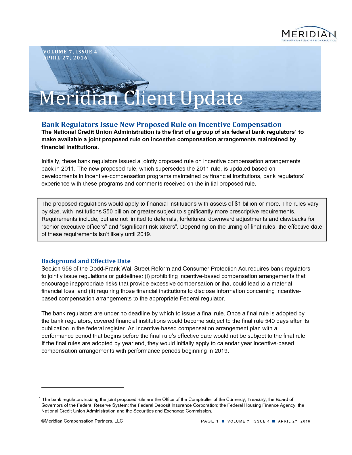 Bank Regulators Issue New Proposed Rule on Incentive Compensation (PDF)