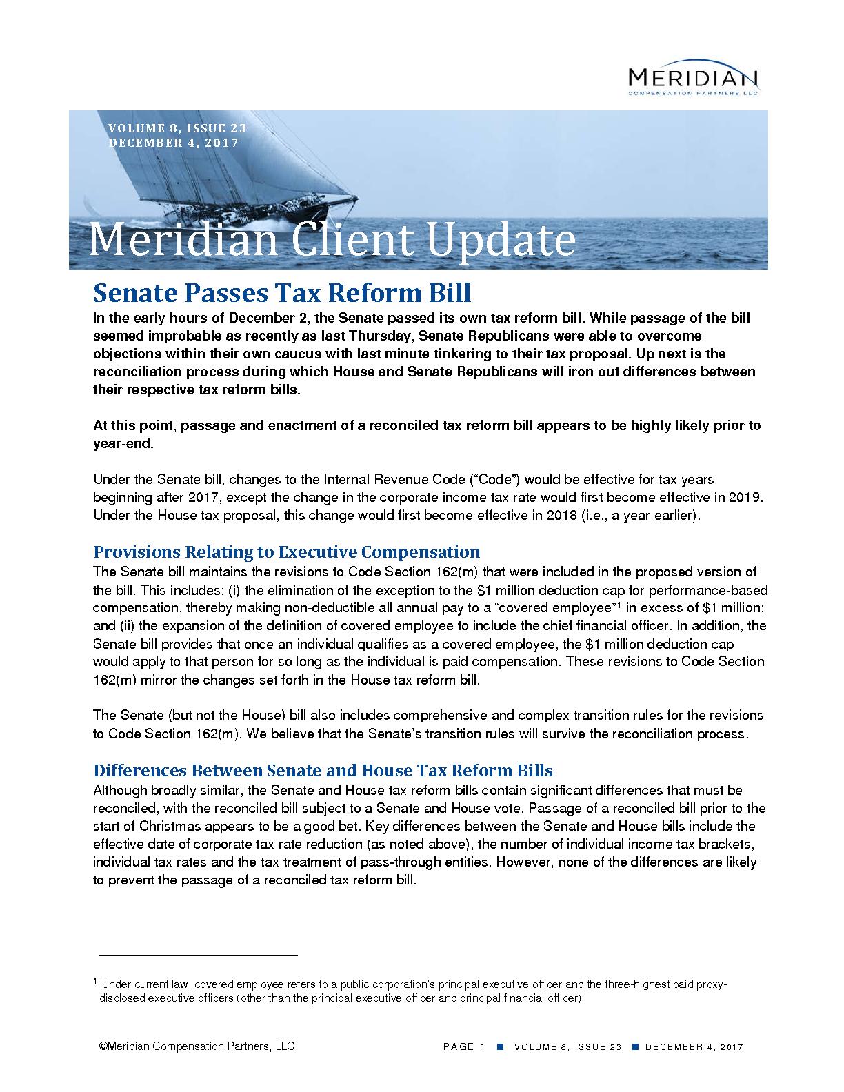 Senate Passes Tax Reform Bill (PDF)