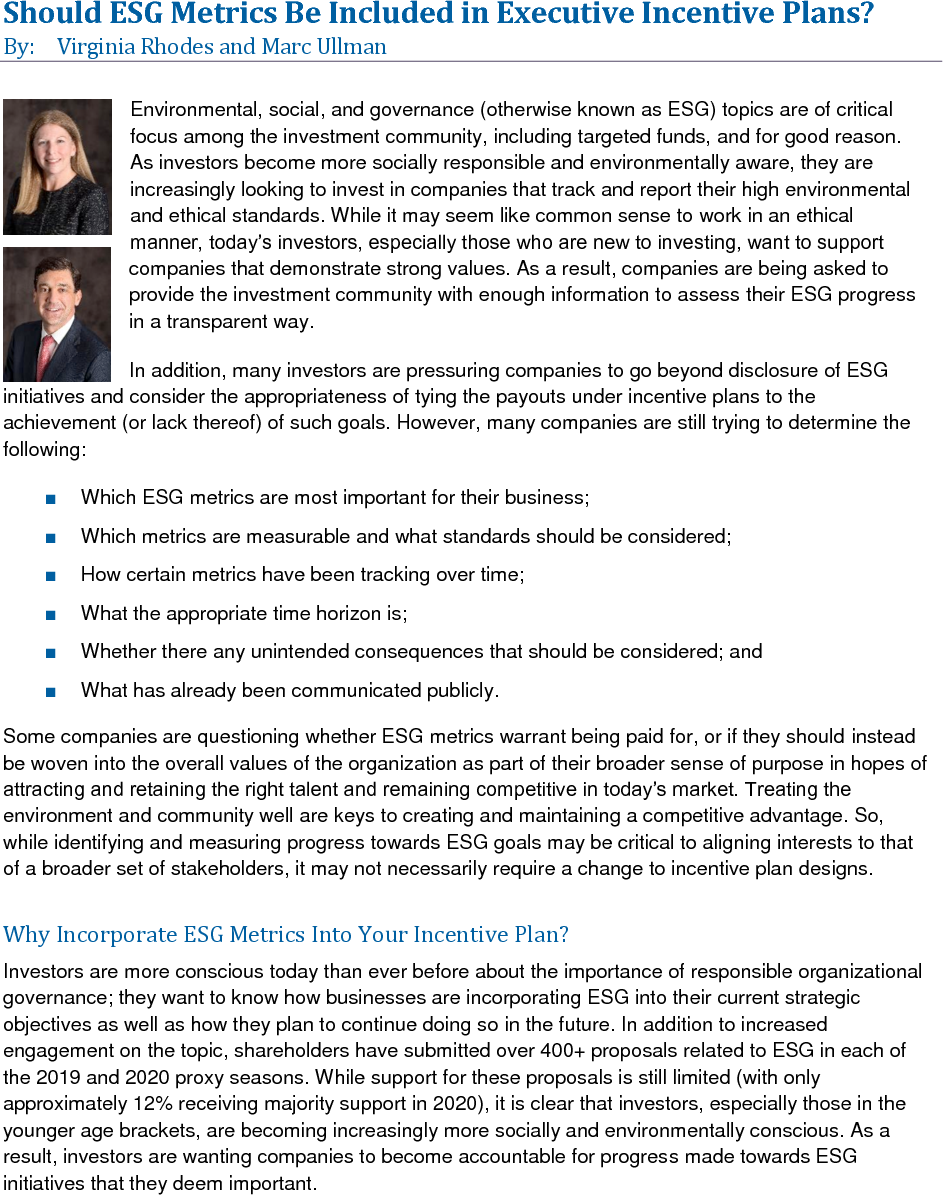 Should ESG Metrics Be Included in Executive Incentive Plans? (PDF)