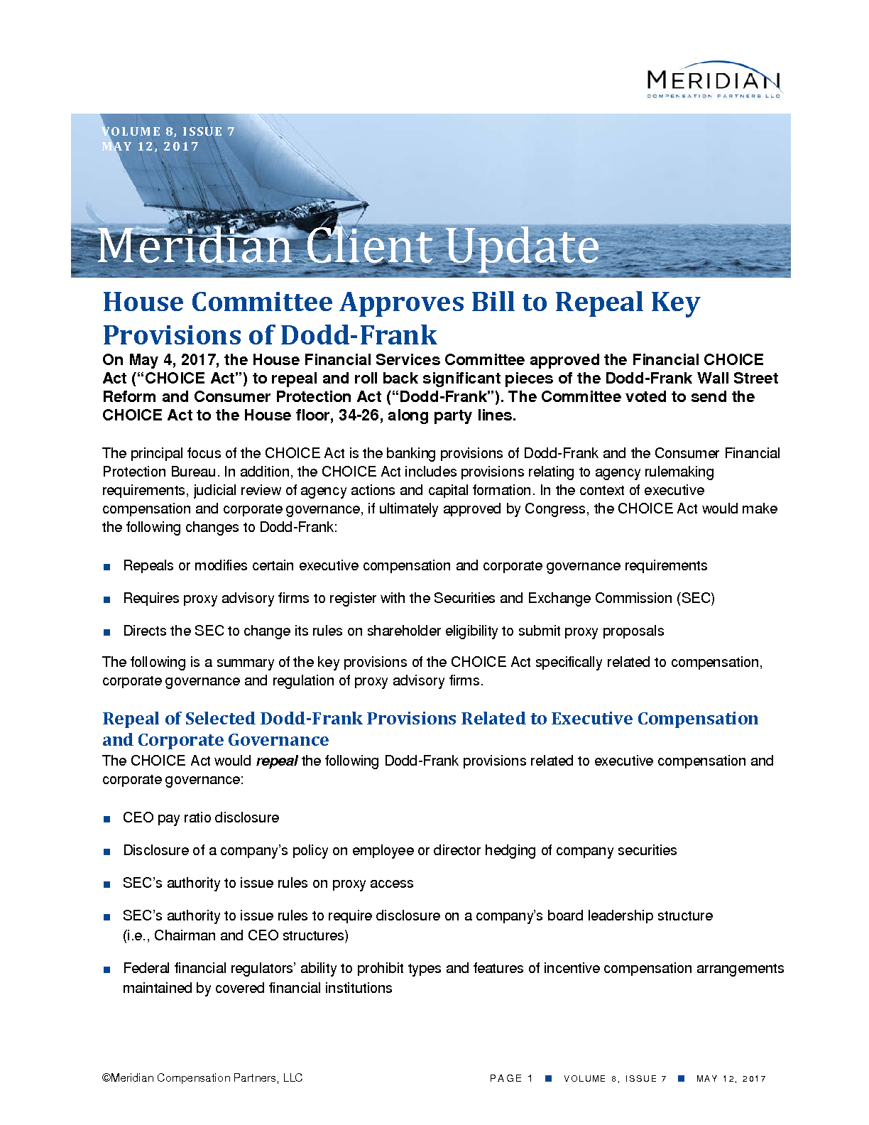 House Committee Approves Bill to Repeal Key Provisions of Dodd-Frank (PDF)