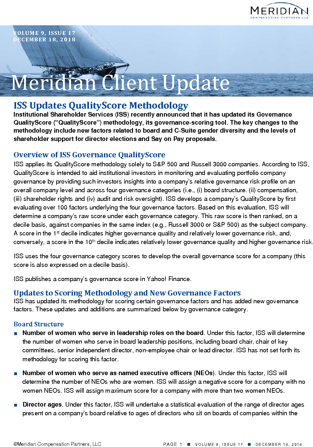 ISS Updates QualityScore Methodology | Meridian Compensation
