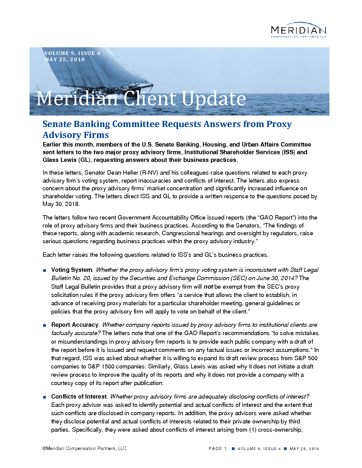 Senate Banking Committee Requests Answers from Proxy Advisory Firms (PDF)